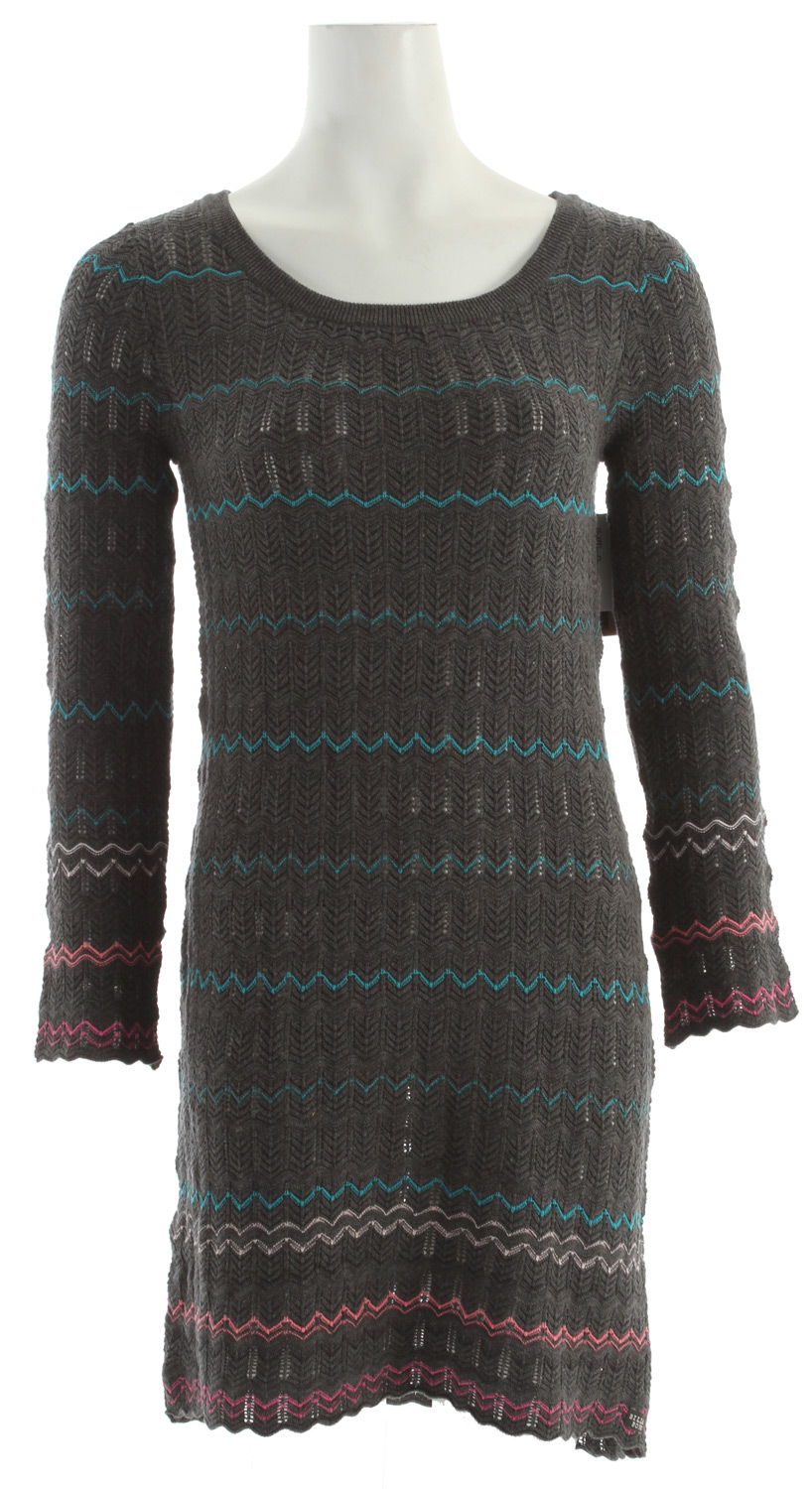 Surf Key Features of the Billabong Forgive And Forget Dress: 60% cotton/40% acrylic long sleeve loose knit pull-over sweater dress w/ pointelle stripe pattern - $51.95