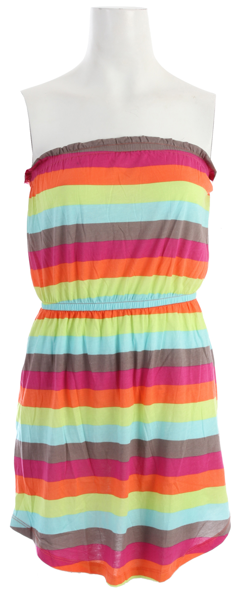 Surf Key Features of the Billabong Shall We Dress: 55% cotton/45% modal Knit bandeau dress with elastic waistband & ruffle detail at top opening Allover neon stripes - $34.00