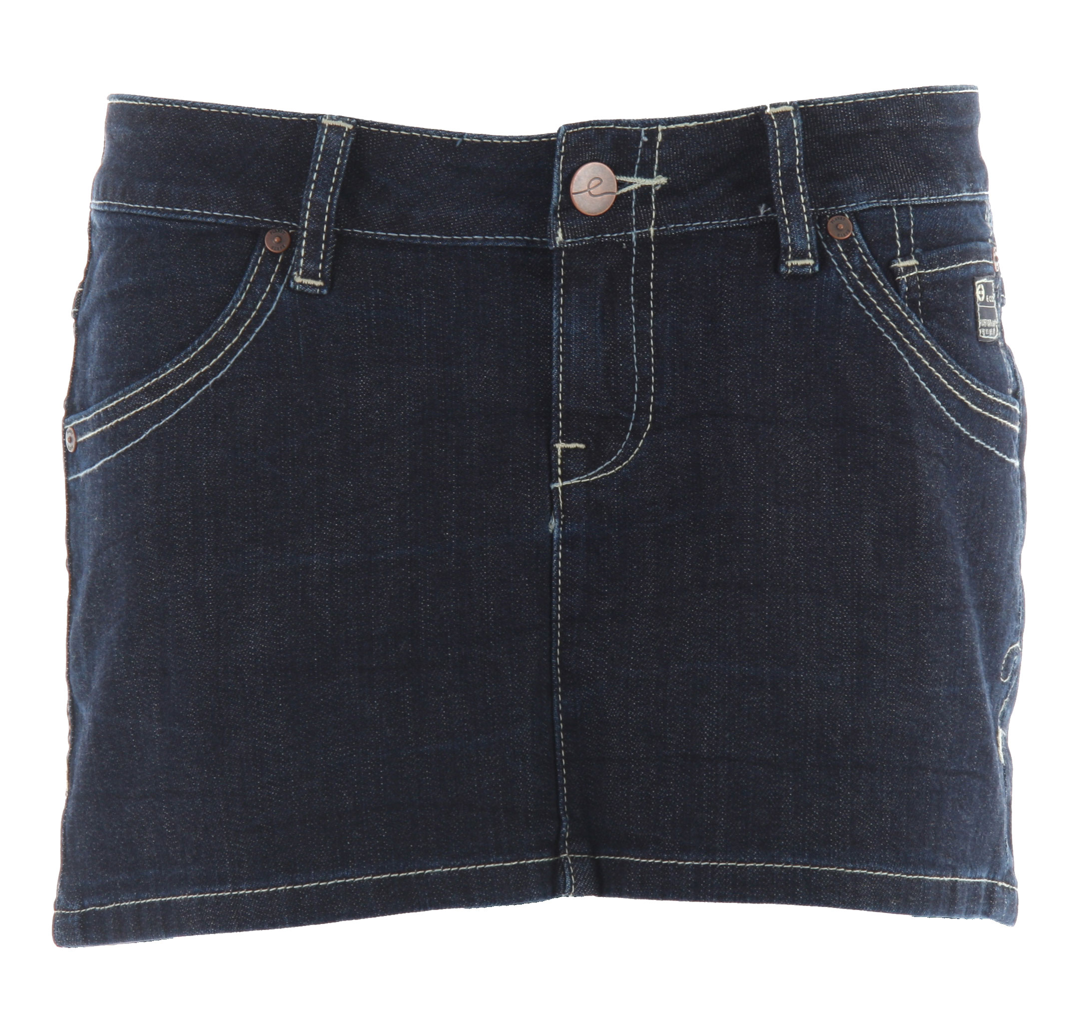 Key Features of the Planet Earth Jean Mini Skirt: Zip Fly Button Closure 20% Organic Cotton/78% Cotton/2% Spandex - $20.95