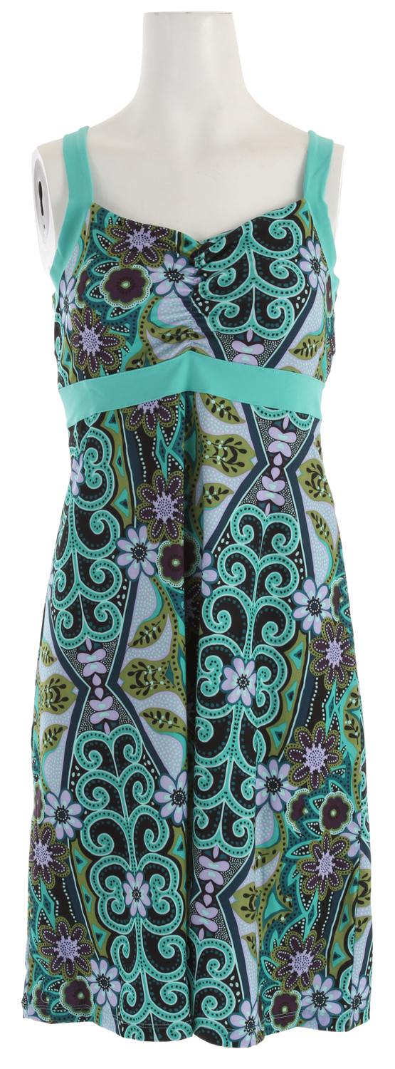 "Entertainment Key Features of the Prana Amaya Dress: Veeda fabric Contrast banding at neck and empire Shirred front detail Internal shelf bra Quick dry Size small = 30"" length at outseam - $49.95"