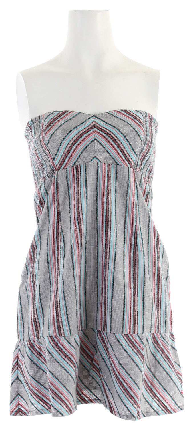 "Surf Key Features of the Roxy Nautical Mile Dress: 100% cotton yd dobby stripe and solid Woven tube dress with sweetheart neckline Zipper CB smocking Fully lined 33"" hps - $34.95"