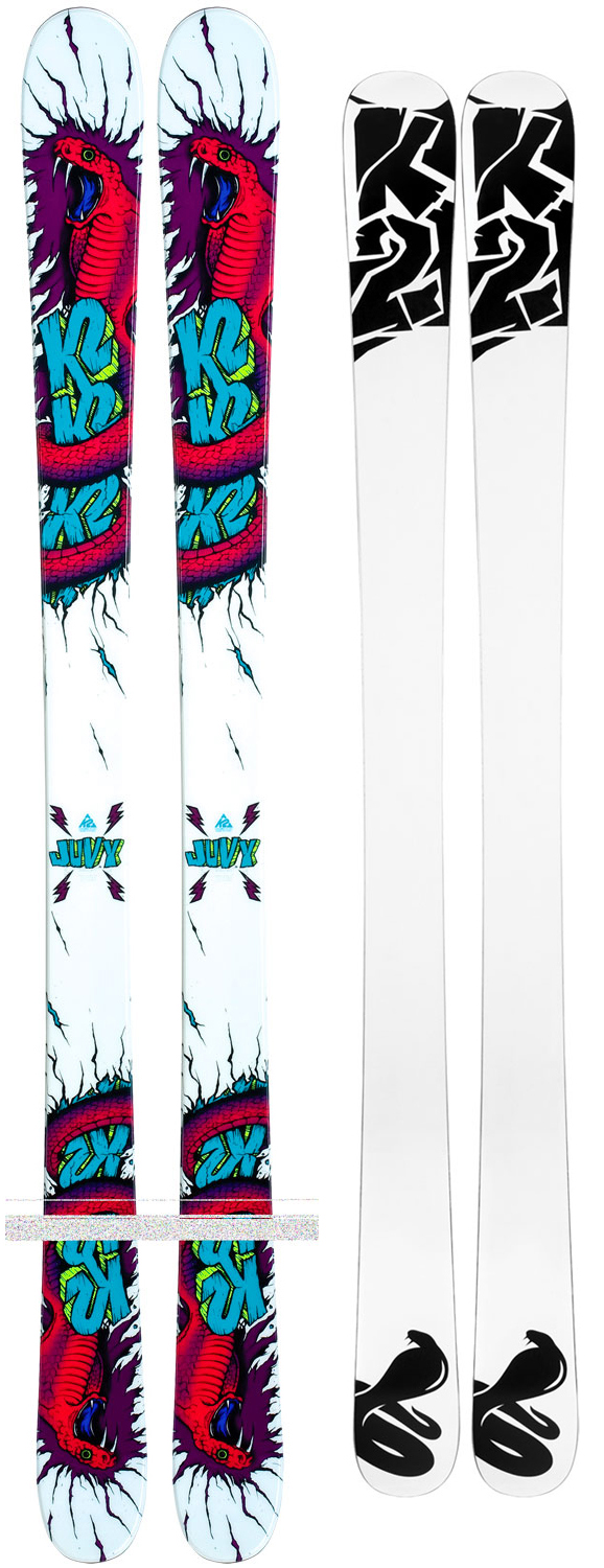 Ski The Juvy is not simply an adult ski scaled down to fit juniors. That would be a crime. The Juvy is a true twin engineered with the proper flex, dimensions, size and swingweight to welcome hard charging groms to take their skiing to the next level.Key Features of The K2 Juvy Youth Skis 119: Performance: Powder: 30% Park: 70% Sizes: 109, 119, 129, 139 Radius: 12mm/Standard Construction: Torsion Box Cap Core: Spruce Recommended binding (not included): FasTrack2 7.0 - $149.95