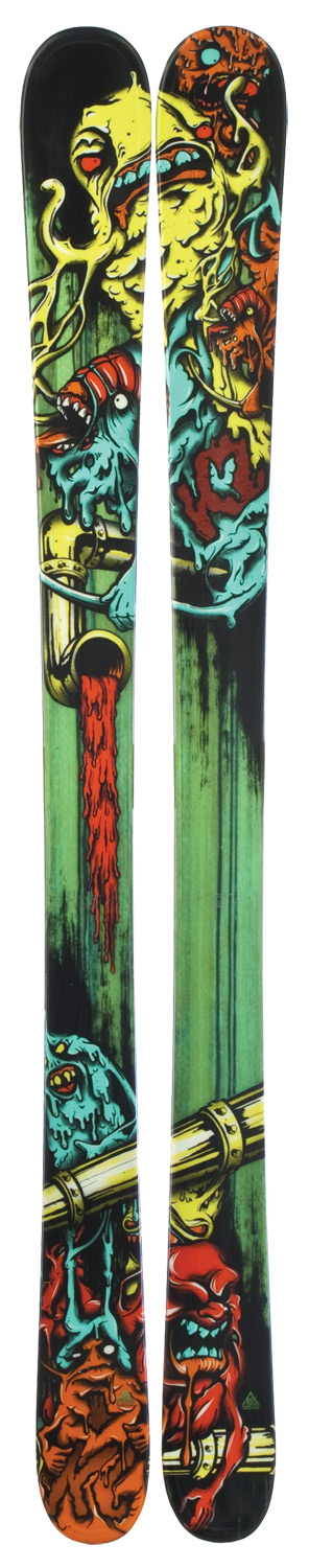 Ski Built with All Terrain Rocker This ski comes in at 85mm underfoot, giving the junior ripper who skis the whole mountain a chance to blast through adverse conditions and rage through the good stuff. The Bad Seed's All-Terrain Rocker makes it versatile enough for any condition, on or off piste. Plus, it can handle the park if your kid likes the taste of big air. This is truly an all-around ski for the all-around mini shredder. Key Features of the K2 Bad Seed Skis: PERFORMANCE: Powder: 50%, Park: 50% Cap-Triaxial Braided Aspen/Paulownia RADIUS: 12m @ 139/ Directional Taper - $207.95