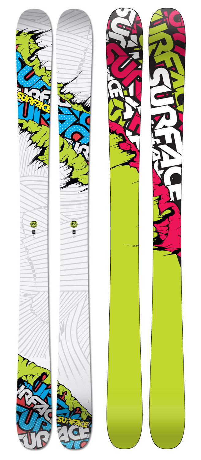 "Ski Every pair of Next Life's we sell, we hear the same thing from the parents, ""Imagine if we had a rocker pow ski this versatile back in the day?!"" We agree and smack them a high five as they walk out the door but mumble under our breath, ""Kids these days have it too easy!""Key Features of the Surface Next Life Skis: Feather Weight Powder Profile Mid-Wide Waisted Hybrid Construction Directional Tapered Shape Poplar Wood Core ABS Sidewall Extruded Base 2.5mm Full-Wrap Steel Edges Binding Reinforcement Sheets 2mm Mini Cap Design Radius (m): 18.5 (145), 19.1 (160) Weight - set (lbs): 6.4 (145), 7.0 (160) Dimensions (cm): 133/100/129 (145), 133/100/129 (160) - $319.95"