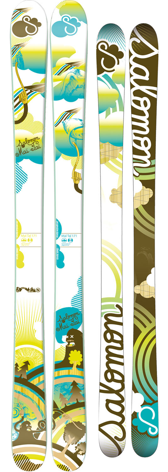 Ski The freestyle design of Salomon Mai Tai skis is perfect for ladies looking to hit up the terrain park or half pipe. With a full wood core, twin tips, high-density graphite base and wide metal edges these skis can do it all and take a beating. The built-in Pulse Pad incorporated into the ski help reduce vibration and make for a smoother more comfortable ride. These skis are versatile and durable and perfect for the girl who rides hard.Key Features of the Salomon Mai Tai Skis: Edge: Edge Armor Wide Body Shape (> or = 85mm)Construction: ABS Sidewalls - $324.95