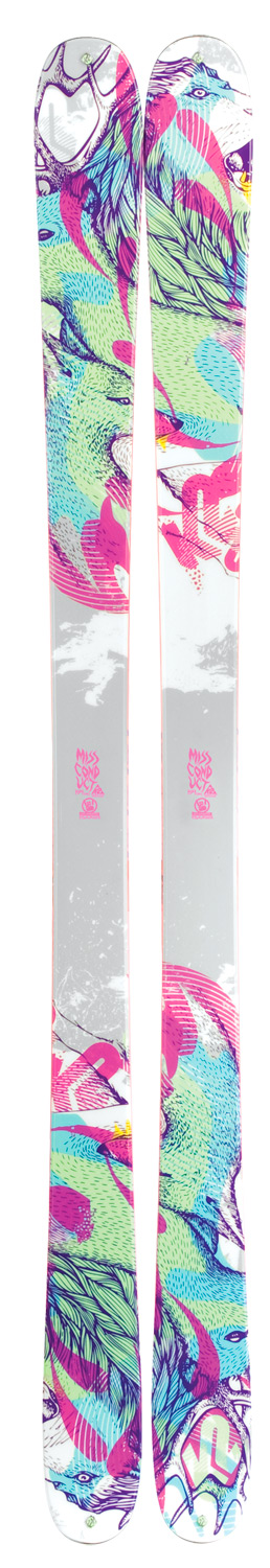 Ski This women's specific ski is lightweight enough for the budding park skier looking for her first twin-tip ski, yet stable and forgiving enough for the more advanced skier. With a smaller footprint and All-Terrain Rocker, this ski will conduct itself perfectly on any terrain that the resort serves up.Key Features of the K2 Missconduct Skis: ALL TERRAIN ROCKER: ROCKER: Easy initiation, versatility, agility. All-Terrain Rocker features an elevated tip for variable and soft snow performance, as well as camber underfoot for power, energy, and edge-hold in firmer conditions. Simply put, All-Terrain Rocker offers versatility and ease in all snow conditions. DIRECTIONAL TAPER: Moderately wider tip than tail maximizes the skis performance in the forward direction. This means the ski makes a slightly different arc when skiing switch. TRIAXIAL BRAIDING: Triaxial braiding consists of braiding fiberglass around a wood core to provide torsional rigidity for added control. Developed in 1988 by K2 engineers, the patented triaxial braiding machine interlocks strands of fiberglass around a milled wood core. While flex and torsion vary depending on the wood, Triaxially braided skis share the common traits of ease, forgiveness, responsiveness, and energy in both expert and entry level skis. BIOFLEX CORE: All of our women's skis use a combination of fir and spruce in a unique core known as BioFlex, a process where a dense fir core underfoot is fused with lightweight spruce at the tip and tail to reduce swing-weight. With the Alliance's involvement, K2 developed this technology specifically for women: lightweight and easy to maneuver, yet sturdy and high-performance. TWIN TECH SIDEWALLS: This new Twin Tip specific construction process increases the durability of sidewall skis. A traditional sidewall construction produces a 90-degree angle where the top material and sidewall meet. The Twin Tech construction actually rolls the top material into the sidewall reducing the angle that is prone to abuse. TWIN TIP SPECIFIC SKI SHAPES: Unlike other categories in the K2 line, our twin tips are designed to ski in both directions. The demand for products that perform increasingly well either way is now the norm. K2 has exceeded that challenge by developing unique radius and taper angles to maximize the skis' bi-directional performance. PLATES AND RIVETS: K2 tip and tail rivets have evolved to allow the addition of a pre-cut climbing skin onto the ski for all your backcountry access needs. ABSORB - ABS /URETHANE HYBRID SIDEWALLS: This horizontal sidewall construction sandwiches a urethane layer in between ABS for shock ABSorption, lessening the impact of harsh landings to the rider. Urethane is used under foot to maximize dampening, but ABS is used toward the tip and tail to maximize performance and edge control. 3.5 MM EDGES: Factory Team skis use thick, durable steel edges. It is far more resistant to cracking for a more durable, longer lasting ski. Sidecut: 118/85/109 - $319.95