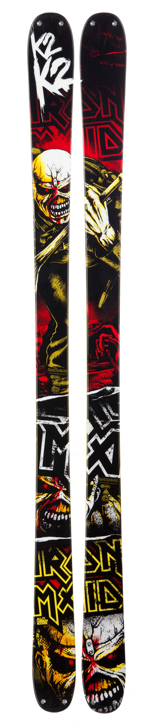 "Ski Iconic rockers Iron Maiden and K2 will slay snow and metal together again this winter with the release of the new ""Iron Maiden"". Inspired by the Troopers single album art, this ski is built on the proven Recoil chassis to triumph over the whole mountain or harsh urban features when not spinning park laps. The unmatched durability of the Iron Maiden's ABSorb sidewalls will take all the thrashing you can give, whether on hard-hitting landings in the park or hair-raising bombdrops in the city. Key Features of the K2 Iron Maiden Skis: Dimensions: 121/90/115 All Terrain Rocker Tip/Tail All Mountain:50% Park: 50% Radius: 20m@ 179cm ABSorb Twin Tech Sidewall Triaxial Braid Fir/Aspen Core Bi-Directional Sidecut Rivets - $384.95"
