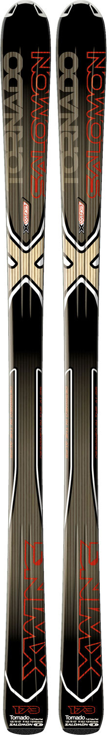 Ski Salomon XW Tornado skis are an expert riders dream. If you spend most of your time on the trails but want a ski with a little versatility to blaze a trail of your own these skis might be for you. They are a powerful all-mountain ski made with a full woodcore for stability, and double monocoque construction for edging . Designed for an expert but with features all skiers desire your Salomon XW Tornados will make you the envy of the mountain.Key Features of The Salomon XW Tornado Skis Black Red 159: Powerful All Mountain Chassis Perfect Grip and Stability Confidence on All Terrain Full Woodcore Oversized Pulsepad L Chassis (79mm Wide Waist) Sidecut: 120/77/105 (159), 120/78/106 (166), 120/79/107 (173), 120/80/108 (180) - $289.95
