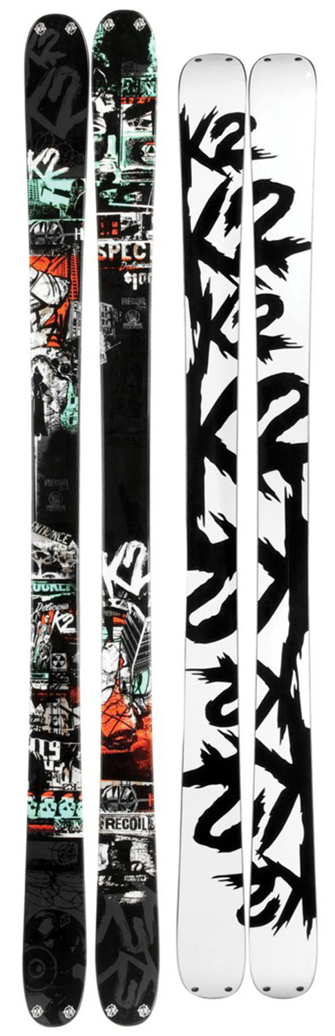 Ski Taking the lead from legends such as the PE and Extreme, the all-new K2 Recoil Ski is built as a high performance all-mountain tool, solid enough to take a beating on the rowdiest terrain in the park yet powerful enough to charge the entire resort. The addition of All-Terrain Rocker keeps it nimble and the 90mm waist increases its ability to handle everything in your way.Key Features of the K2 Recoil Skis: Built with All-Terrain Rocker Bi-Directional Tip/Tail Hardware SchizoFrantic Inserts Swap Base PERFORMANCE: All-Mountain: 50%, Park: 50% CONSTRUCTION: ABSorbTwinTech Sidewall, Triaxial Braided Fir/Aspen Core RADIUS: 20m @ 179/ Bi-Directional Taper RECOMMENDED BINDING OPTIONS: Griffon SchizoFrantic, Squire SchizoFrantic or flat TIP/WAIST/TAIL WIDTH: 121/90/115 - $324.95