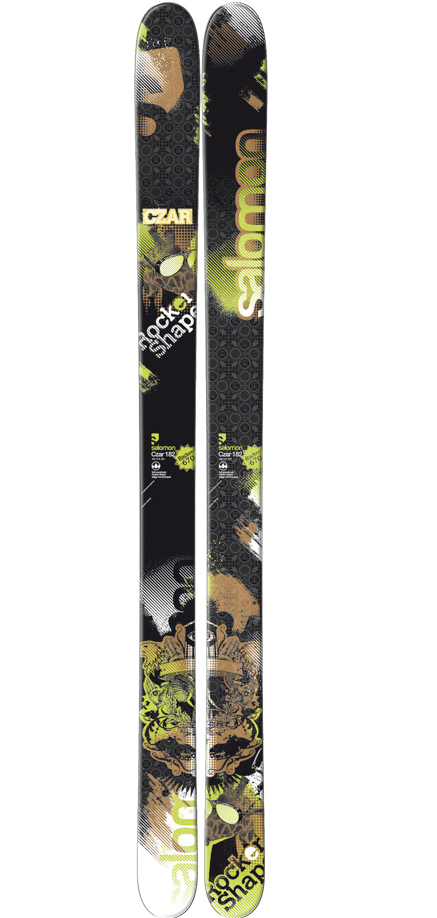 Ski The Salomon Czar ski is Rockered Powder Performance.Key Features of the Salomon Czar Skis: Double Monocoque Edgy Monocoque Full Woodcore Wide edges Total edge reinforcement High twin tip tail Pulse Pad Powder Rocker Sidecut: 131/111/121 (182cm) Radius: 38.3 (166), 40.0 (174), 44.7 (182), 54.9 (190) - $390.95