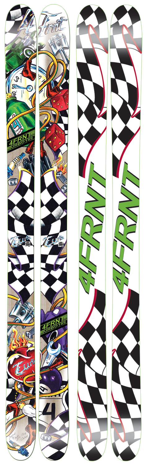 Ski If you're looking for a ski with a stiff tail, floaty tip and wide footprint, then welcome to the Turbo. This ski leads the Identity Series with the widest dimensions for this category to date. A shape and size range that accommodates all ends of the spectrum, this wood core, sandwich construction fat-boy leaves ruts. We built on an aftermarket camber profile with minimal camber under-foot and an early-rise shovel for greasin' wide open powder turns. The artwork came straight from SLC's Big Deluxe Tattoo parlor where Mike J dialed in an original piece to reflect this skis top-sheet as being two turbo-charged arm sleeves.Key Features of the 4Frnt Turbo Skis: ABS deflect sidewalls Early rise, Camber HI-LITE core Sintered base 134-108-126 - $374.95