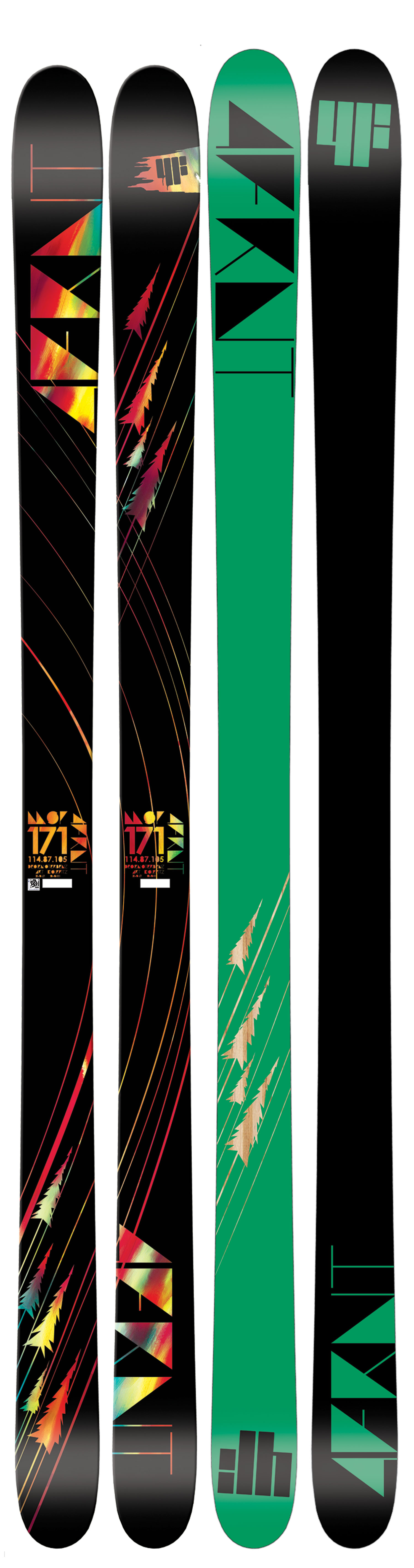 "Ski ""My all mountain weapon of choice"" - the 4FRNT MSP SkiKey Features of the 4FRNT MSP Skis: Mega Block Woodcore Deflect ABS Sidewall Dampening System 45 Q45 Fiberglass Glosstop Topsheet ISO-SPORT Sintered 2000 Base 360 Full Wrap Edge Length (cm): 161, 171, 181, 187 Dimension: 107x83x99 (161), 114x87x105 (171), 122x92x112 (181), 128x96x117 (187) Turn Radius (m): 22.5/26 (161), 22.5/26 (171), 22.5/26 (181), 22.5/26 (187) Edge (cm): 138 (161), 146 (171), 155 (181), 161 (187) Weight (lbs): 3.3 (161), 3.8 (171), 4.3 (181), 4.6 (187) - $304.95"