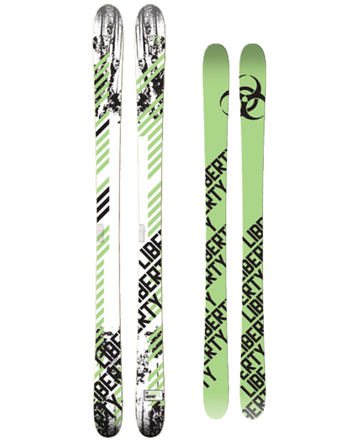 Ski The updated 2010 Hazmat is our most versatile ski and our everyday ride here in Colorado. Featuring UHMW sidewalls and a thicker edge profile, the smooth and energetic Hazmat is truly a one ski quiver. With a medium flex, bamboo laminate core, and a mid-fat footprint the Hazmat does everything well, from riding powder to park.Key Features of The Liberty Hazmat Skis 181: HRC 40 Edges - Slightly Lower hardness rating with a wider profile and larger anchors to dissipate heat and increase impact resistance Cab 4- Cab Forward Stance 78 Degree Sidewall FRP - Fiber Reinforced Polymer Bamboo - Laminated bamboo gives tremendous rebound and energy while being environmentally friendly UHMW Sidewalls - Rugged and repairable sidewall material with a layer of rubber above and below for smooth riding and durability. UHMW is tougher than ABS and can be repaired if you manage to gouge a hole in it P-Tex 2000 - Fast and durable sintered base from the industry leader ISO - New co-extruded polyamide material is the best sublimated topsheet available Liberty Core - Laminated Bamboo and Poplar core.We laminate 3 bamboo stringers within the poplar core to create a tough and light core that has incredible energy return and snow feel.This core will flex enough to ollie or butter with ease, yet has enough backbone to stomp landings or ride at high speed. - $430.95