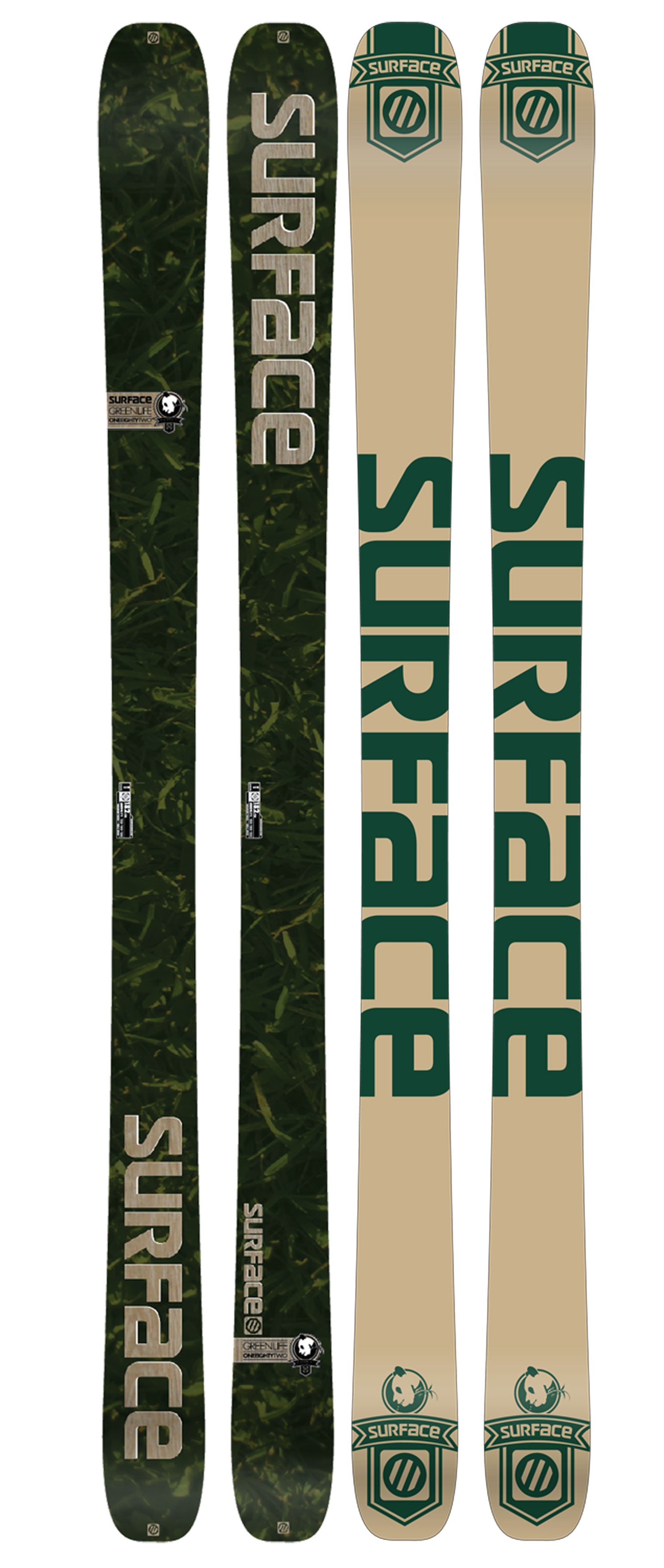 "Ski Built on the classic Watch Life chassis, the Green Life is our ""do-good"" ski. Teaming up with the NRDC once again, we are striving to create environmental awareness among the ski community. Do your part and become a member of the NRDC now.Key Features of the Surface Green Life Skis: All Mountain, All Condition Mid-Wide Waist Traditional Camber Construction Directional Taper Shape Poplar Wood Core Kevlar ABS Sidewall Extruded Base 2.5mm Full-Wrap Steel Edges Binding Reinforcement Sheets 2mm Mini Cap Design Radius (m): 18.5 (172), 19.5 (182) Weight - set (lbs): 7.8 (172), 8.4 (182) Dimensions (cm): 132/100/122 (172), 132/100/122 (182) - $298.95"