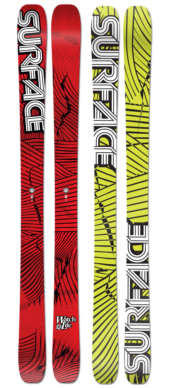 "Ski If the word ""Quiver"" is not in your vocabulary, or better yet, in your bank account, but you need a pair of skis that will perform in all conditions, look to the Watch Life to be your do-it-all ski this winter. Plenty fat under foot for shredding pow but light and poppy for skiing variable snow and hard pack.Key Features of the Surface Watch Life Skis: Feather Weight All Mountain, All Condition Mid-Wide Waist Traditional Camber Construction Directional Taper Shape Poplar Wood Core ABS Sidewall Extruded Base 2.5mm Full-Wrap Steel Edges Binding Reinforcement Sheets 2mm Mini Cap Design Radius (m): 18.5 (172), 19.5 (182) Weight - set (lbs): 7.8 (172), 8.4 (182) Dimensions (cm): 132/100/122 (172), 132/100/122 (182) - $272.95"