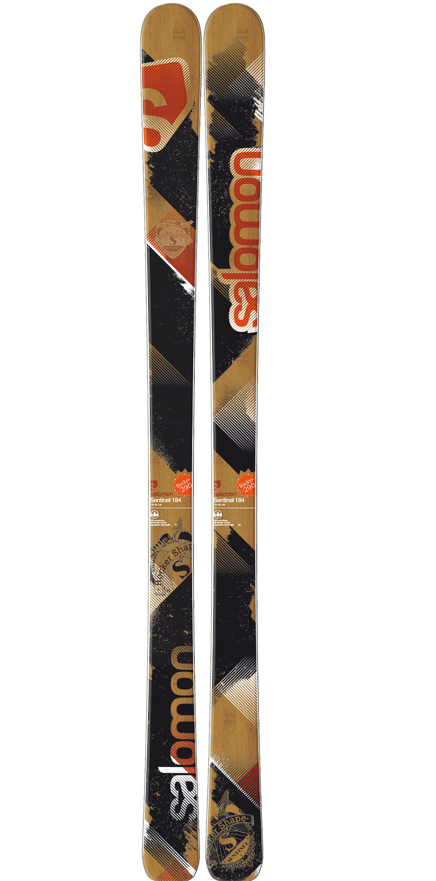 Ski Big Mountain and Backcountry.Key Features of the Salomon Sentinel Skis: Double Monocoque Edgy Monocoque Full Woodcore Wide edges Total edge reinforcement Edge armor Semi twin tip tail Pulse Pad All Terrain Rocker Sidecut: 130/ 101/ 120 (182cm) Radius: 20.6 (164), 23.1 (173), 25.9 (182), 28.7 (191) - $424.95