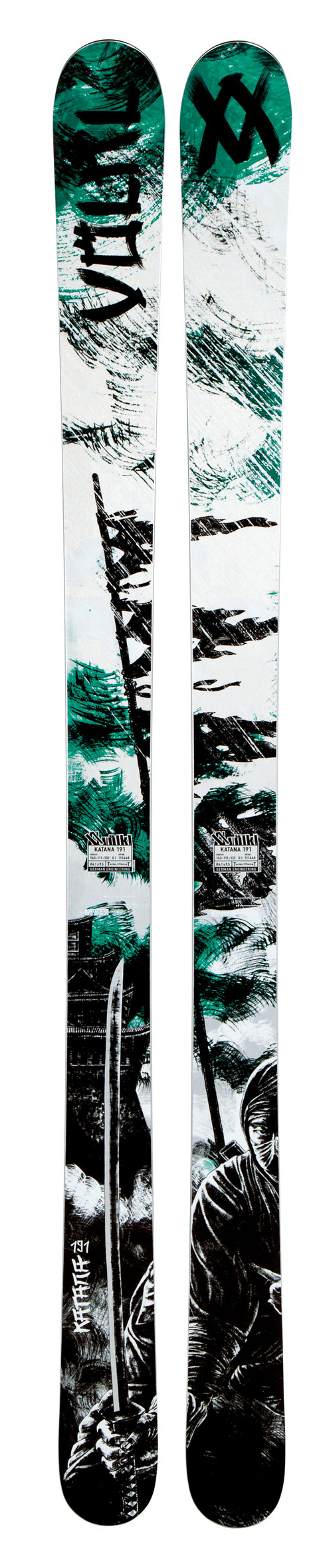 Ski There is nowhere for the powder to hide, when you are riding the Volkl Katana Skis. Featuring a reverse camber and shallow gradual rocker in the tip and tail, these are solid deep snow skis. A fast and aggressive ski, they are mostly meant for backcountry trips. They will rip through fresh pow and gnarly terrain with ease. Turns are incredibly stable and easy in any condition on the Katanas, although it is slightly slower than an all-mountain ski.Key Features of the Volkl Katana Skis:  Big Mountain  Full Rocker: A smooth, gradual bend from tip to tail with matching side and flex. Extended Low Profile (ELP  gives the skier all the benefits of added maneuverability in soft snow while also delivering smooth, graceful arcs on groomed terrain. How  By matching the flex and sidecut with the full rocker (long, gradual bend from tip to tail  profile, the skier gains full, uninterrupted edge contact. The more you put the ski on edge, the more effective the edge becomes. The resulting smoothness and predictability is truly uncanny.  Sensorwood  Power Construction  Powered by Titanium  Radius: 24.2 (177 , 25.8 (184 , 28.2 (191 , 30.7 (198 - $638.95
