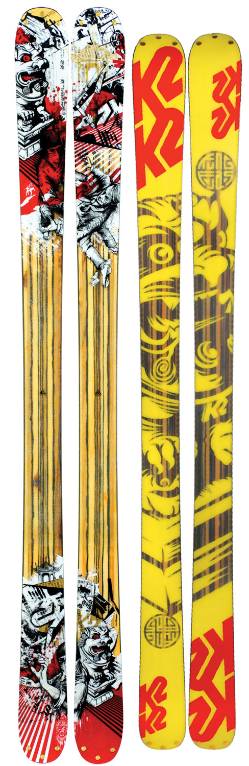 Ski Who need a quiver of skis anymore when the Kung Fujas skis it all so well? Pep Fujas wanted a ski to charge every type of terrain and he worked with K2 to develop a ski that was wide enough to float and endure lines in the backcountry, yet nimble and poppy enough to shred the park. He added a new 5/30 mini-rocker tp the tip and tail to enhance it's performance in soft snow, and bi-directional taper for better switch carving. The result is the only ski that is truly a quiver of one. Believe in the teachings of the Kung Fujas.Key Features of The K2 Kung Fujas Skis 169: Powder: 50%b / Park: 50% 21m@179 Radius / Bi-Directional Taper ABS Sidewall Construction Fir Core SchizoFrantic or Flat Bindings Tip/Tail 5/30 Rocker Tip And Tail Rivets Triaxial Braiding - $437.95