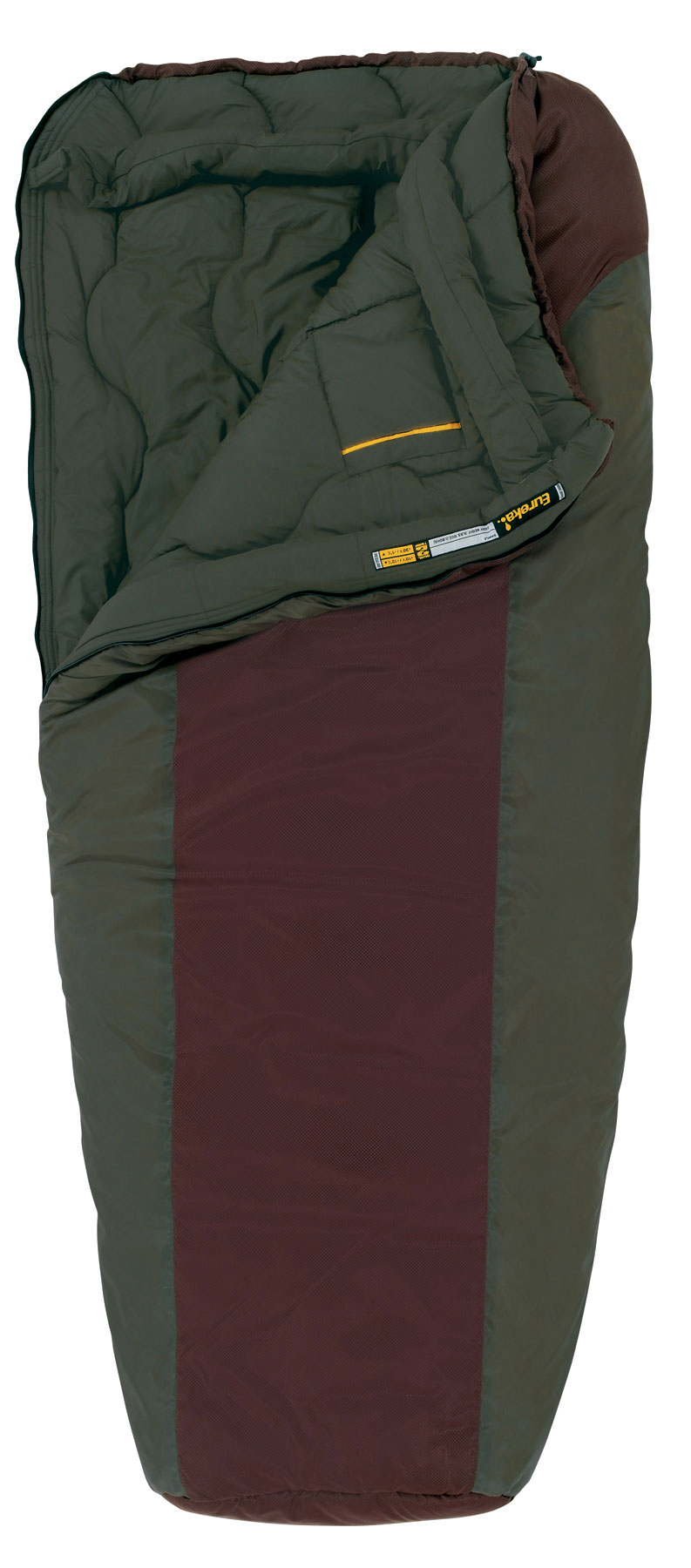 "Camp and Hike Key Features Eureka Dual Temp 10/30 Sleeping Bag: Dual Temp design utilizes differing layers of insulation on the chest and back of the bag, creating a versatile sleeping bag with 2 different temperature ratings by simply turning the bag over. Insulation Rteq insulation is a proprietary blend of 4 unique polyester fibers, each chosen for its specific characteristics of denier, loft, weight, and thermal efficiency. This advanced blend provides the perfect balance of warmth, durability, and compressibility that make Eureka! bags the ideal choice for users who need a lightweight bag and minimal pack size! Hybrid-Rectangular Design: The unique, hybrid-rectangular design of the Dual Temp 10/30 strikes a balance between performance and comfort. The tapered lower portion helps reduce the bag's overall weight and bulk, while the contoured top opening reduces heat loss. Lining: The warm-to-touch, peached polyester lining combines the performance value of a synthetic fabric with the soft feel of cotton. The slightly fuzzy texture provides added warmth and comfort in any condition. Foot Box: The anatomically designed trapezoidal foot box allows for a comfortable night's sleep by letting your feet rest in their natural position. Draft Collar's: The draft collar's extra baffle of insulation fits comfortably around your torso, providing an extra barrier against cold air infiltration ensuring you stay warm all night. Fit: Regular Size: 72"" x 33"" x 30"" - $99.95"