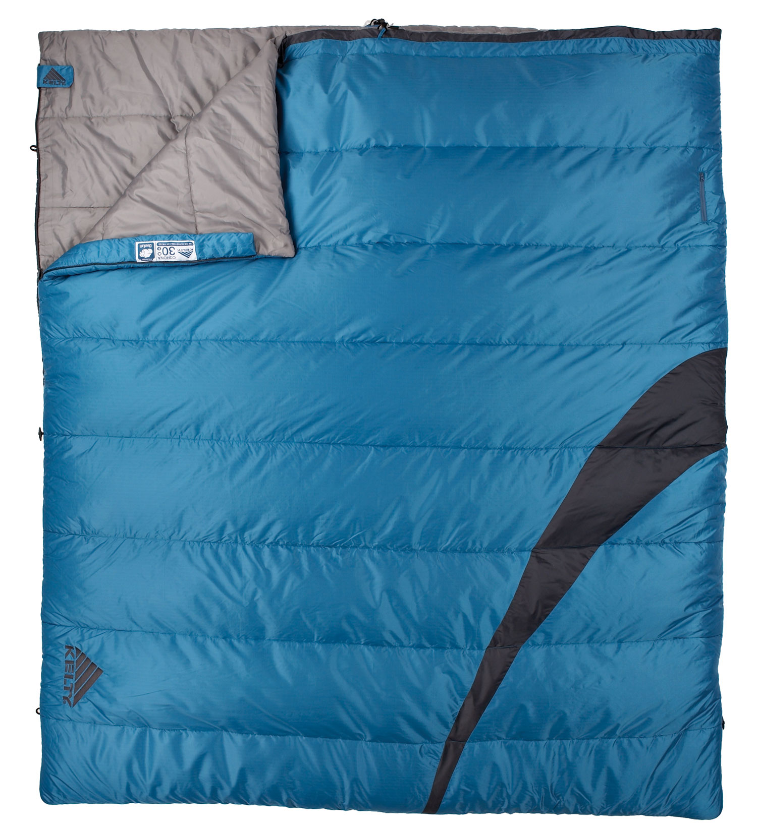 "Camp and Hike The Corona 30degrees is a roomy rectangular sleeping bag for summer adventures. This camping bag is perfect for the value-minded family on the go.Key Features of the Kelty Corona 30 Degree Doublewide Sleeping Bag: Two-layer, offset-quilt construction Two-way locking blanket zipper Zipper draft tube with anti-snag design Internal liner loops External storage pocket Roll-up straps FatMan and Ribbon drawcords Captured cordlock Differential cut to maximize loft and warmth Comes in a display box Fits to 6' / 183 cm Length: 80"" / 203 cm Shoulder girth: 136"" / 345 cm Fill weight: 100 oz. / 2.9 kg Total weight: 9 lb. 5 oz. / 4.2 kg Stuffed diameter: 18"" / 46 cm Stuffed length: 38"" / 97 cm Insulation: Kelty CloudLoft Shell material: 50D polyester fancy ripstop Liner material: 66D polyester taffeta - $73.47"