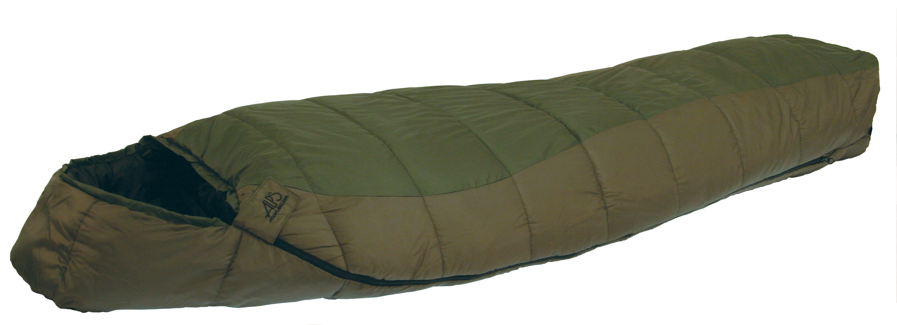 "Camp and Hike The Crescent Lake series sleeping bags are made with Techloft+ insulation. Techloft+ Insulation consists of multi-hole staple-length micro-denier fibers that have a siliconized finish for maximum insulation, loft, and compactness. The Crescent Lake uses a 2-layer offset construction, sometimes called a ""bag within a bag."" The contoured hood and mummy shape helps seal up your warmth and keep you warmer. The Crescent Lake is a great backpacking sleeping bag to take along on your hikes that won't take up all the space in your pack.Key Features of the Alps Crescent Lake 0 Wide Sleeping Bag: TechLoft+ - 2 Layer Offset Insulated Chest Baffle Zipper Baffle Contoured Hood Standard Stuff Sack Included Outer Material: 210T Polyester Outer Color: Green/Clay Liner Material: 210T Polyester Liner Color: Black Shape: Mummy Zipper: #8 Separating Length: Long Dimensions: 34"" x 86"" Fill Weight: 72 oz Total Weight: 6 lb 2 oz - $79.95"