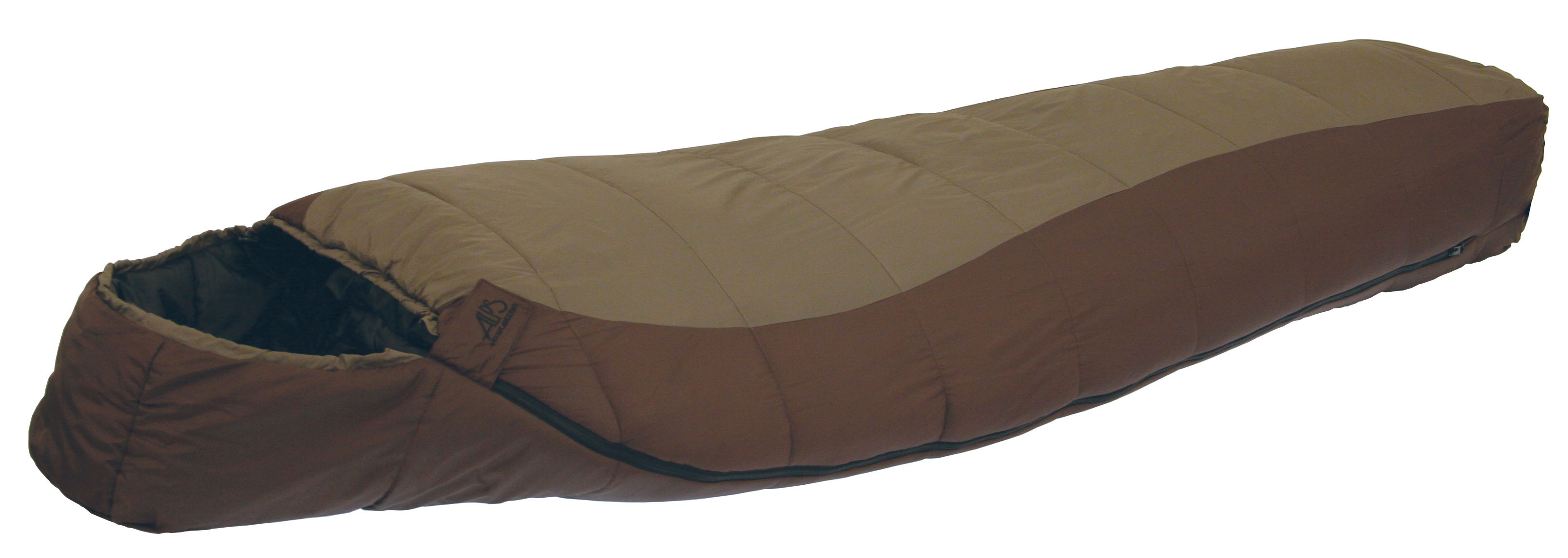 "Camp and Hike The Desert Pine series sleeping bags are made with Techloft+ insulation. Techloft+ Insulation consists of multi-hole staple-length micro-denier fibers that have a siliconized finish for maximum insulation, loft, and compactness. The Desert Pine uses a 2-layer offset construction, sometimes called a ""bag within a bag."" The contoured hood and mummy shape helps seal up your warmth and keep you warmer. The Desert Pine is a great backpacking sleeping bag to take along on your hikes that won't take up all the space in your pack.Key Features of the Alps Desert Pine -20 Regular Sleeping Bag: TechLoft+ - 2 Layer Offset Insulated Chest Baffle Zipper Baffle Contoured Hood Compression Stuff Sack Included Outer Material: 210T Nylon Ripstop Outer Color: Brown Liner: 210T Polyester Liner Color: Black Shape: Mummy Zipper: #8 Separating Length: Regular Dimensions: 32"" x 80"" Fill Weight: 84 oz Total Weight: 6 lb 12 oz - $99.95"