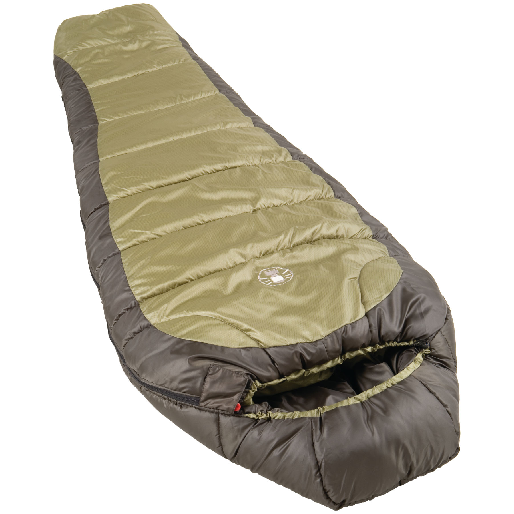 "Camp and Hike Key Features of the Coleman North Rim Extreme Weather Sleeping Bag: The perfect sleeping bag for extreme sleeping conditions between 10 and 30 degrees Fits most up to 6'2"" Mummy sleeping bag, 32"" x 82"" 60 ounces of Coletherm insulation Durable polyester ripstop cover and polyester liner resists tears Double batt, offset quilt construction eliminates potential cold spots Semi sculpted hood surrounds head with warmth Insulated chest baffle holds heat in the body of the bag Box foot silhouette fives feet extra wiggle room Full length, insulated draft tube locks out chilly drafts 2-way zipper for maximum ventilation Stuff sack included 5 year limited warranty Commercial Machine washable - $69.95"