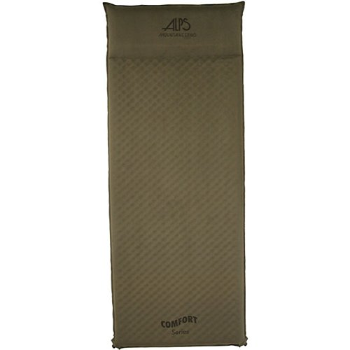 "Camp and Hike When you're away from home and want some added comfort to your cot or sleeping bag, try an ALPS self inflating air pad. With the comfort series, the pad will inflate and deflate quickly with the jet stream wave foam and roll up compactly to fit into the stuff sack. The top is a comfortable, brushed Suede-like fabric with Anti-Slip Dots on the bottom to keep you from sliding around. The Comfort Series also features brass non-corrosive valves for maximum durability. Another benefit of adding an air pad is that it will help keep you warmer... essential to a well rested night. A free stuff sack, compression straps, and repair kit are included with every pad... something many other companies make you pay extra for.Key Features of the Alps Comfort Series Long Air Pad: Jet Stream Wave Foam Faster Inflating and Deflating Brushed ""Suede-like"" Top Fabric Extra Comfort and Less Sliding Anti-Slip ""PVC Dots"" Bottom Fabric Slides Less on Tent Floor Non-corrosive Brass Valves Long-term Durability Size: 25"" x 77"" x 1.5"" Weight: 4 lbs 6 oz Stuff Sack: 6.5"" x 26"" - $59.95"