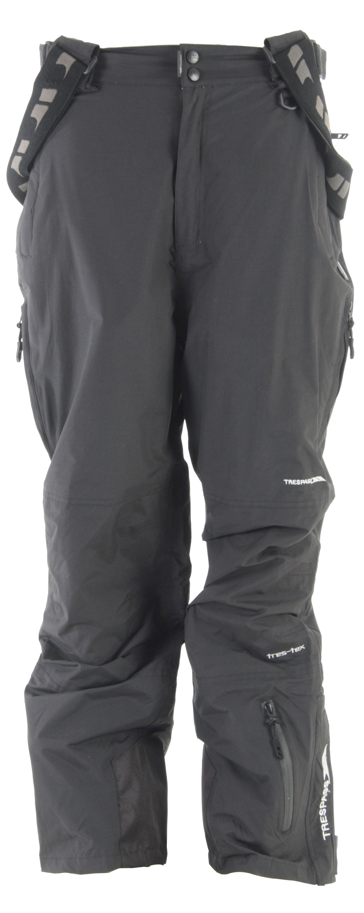 Snowboard Trespass' Fagan snowboard pants hold up to all kinds of weather with their wind proof construction and 3,000 mm waterproofing. The taped seams add even more protection and ensure lasting durability. Four pockets, 1 water resistant, provide plenty of storage to bring your gear along for the ride. Side leg ventilation zips add airflow when the sun comes out. Get all weather performance and subtle style with the Trespass Fagan snowboard pants and ride in comfort all day.Key Features of The Trespass Fagan Snowboard Pants: 3,000mm Waterproof 3,000g Breathability Windproof, Taped Seams Unpadded Tricot Lining 1 Water Repellent Zip Pockets 3 Welt Pockets Side Waist Adjusters Side Leg Ventilation Zips Side Leg Ankle Zip with Facing Shell: 100% Polymide PU Coating 100% Polyester Lining - $48.95