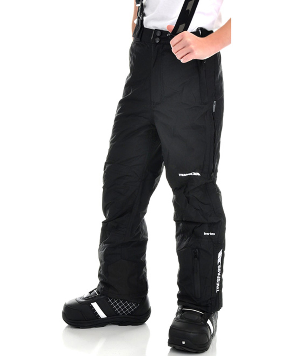 Snowboard Trespass Fagan Heat Snowboard Pants are made for kids who like to color outside the lines. Carve out your own path in the pants that let you keep your cool. All polymide coated shell lined in soft tricot form the foundation of the Fagan Heat youth pant. Taped seams and vented legs help maintain your temperature, sealing out wind and water while wicking away moisture. Zippered ankle flap accommodates boots, and a parcel of pockets provide places for all your goodies. Break the rules and blaze your own trail in Trespass snowboard pants from the progressive outfitter.Key Features of the Trespass Fagan Snowboard Pants: 3,000mm Waterproof 3,000g Breathability Windproof, Taped Seams Unpadded Tricot Lining 1 Water Repellent Zip Pockets 3 Welt Pockets Side Waist Adjusters Side Leg Ventilation Zips Side Leg Ankle Zip with Facing Shell: 100% Polymide PU Coating 100% Polyester Lining - $42.95