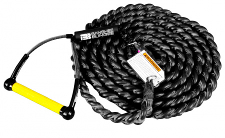 Snowboard One 20ft Bungee + 1 Handle + One 30ft Lead Line Stretching Up to 140 feet, the 20-foot long Bungee can launch any boarder across any surface: asphalt, metal, snow, sand, water, etc. This is the preferred bungee for skim, skate and snow. You can double it up for more speed, shorten it in tight areas by simply tying it off around you anchor point. the 20 footer is the only bungee that will work for water applications. The 3-strand braided design prevents snapback, and the vulcanized latex rubber provides up to 7 times its length stretching capabilities. Capable of launch speeds approaching 35 mph, Our Bungee beats any drop-in or car tow-in possibility, not to mention the escapability of the 5-0! Keep in mind, The bungee is modular. For a faster pull, hook 2 side-by-side. for a longer ride, hook 2 end-to-end. - $229.99