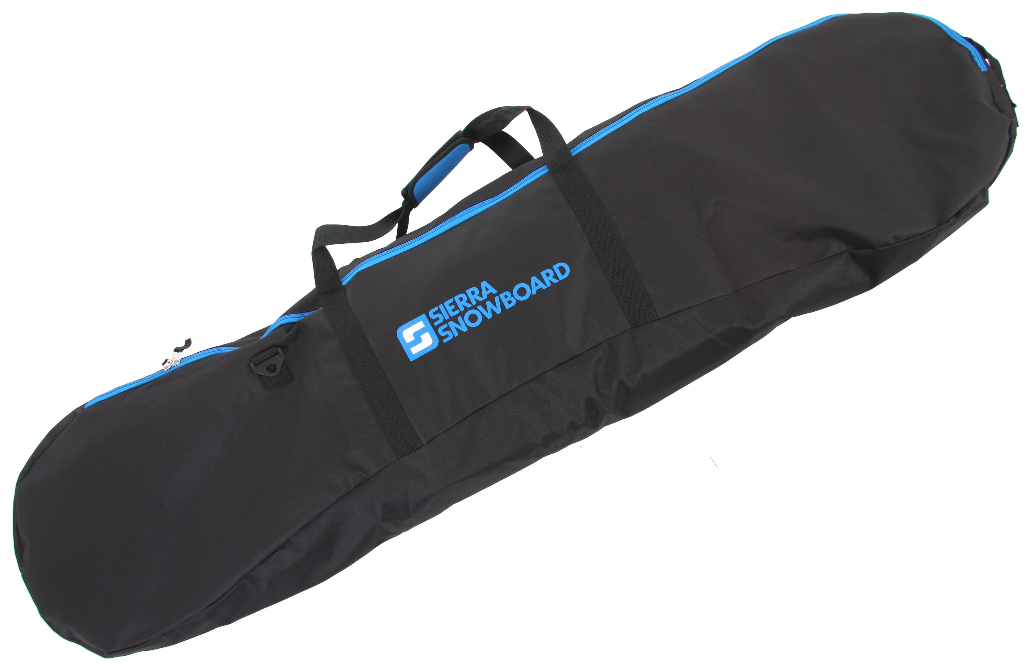 Snowboard Save the bumps and scrapes on your snowboard for the mountain, store and carry your board in the Sierra Logo Snowboard Bag and keep it safe while traveling. The contrast zipper gives this snowboard bag style, making it easily recognizable. You will be able to comfortably carry this Sierra snowboard bag with either the removable and adjustable shoulder strap or the carrying handle. Key Features of the Sierra Logo Snowboard Bag:  Removable adjustable shoulder strap  Carrying handle straps  Non-padded  Contrast zipper - $21.95