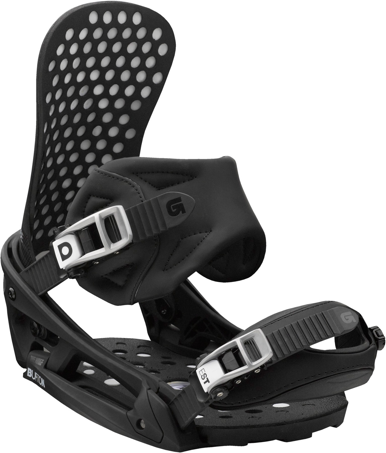 Snowboard Ultimate flex and feel in Burton's lightest weight binding.Key Features of the Burton Diode EST Snowboard Bindings: Response: 8 Baseplate: Dual-Component EST™ Featuring The Hinge with Carbon Fiber/Nylon Composite Spar and Carbon Fiber/Nylon Composite Lower Hi-Back: Ultra-Lightweight Single- Component Carbon Composite Hi-Back Straps: React Strap and Lightweight Gettagrip Capstrap™ Buckles: Dual-Component Smooth Glide™ Buckles Cushioning: Removable ShredBED™ 3.0 Cushioning System Rides Exclusively with Burton Boards Featuring The Channel Features Re-Ground Materials in Baseplate to Reduce Waste - $299.95