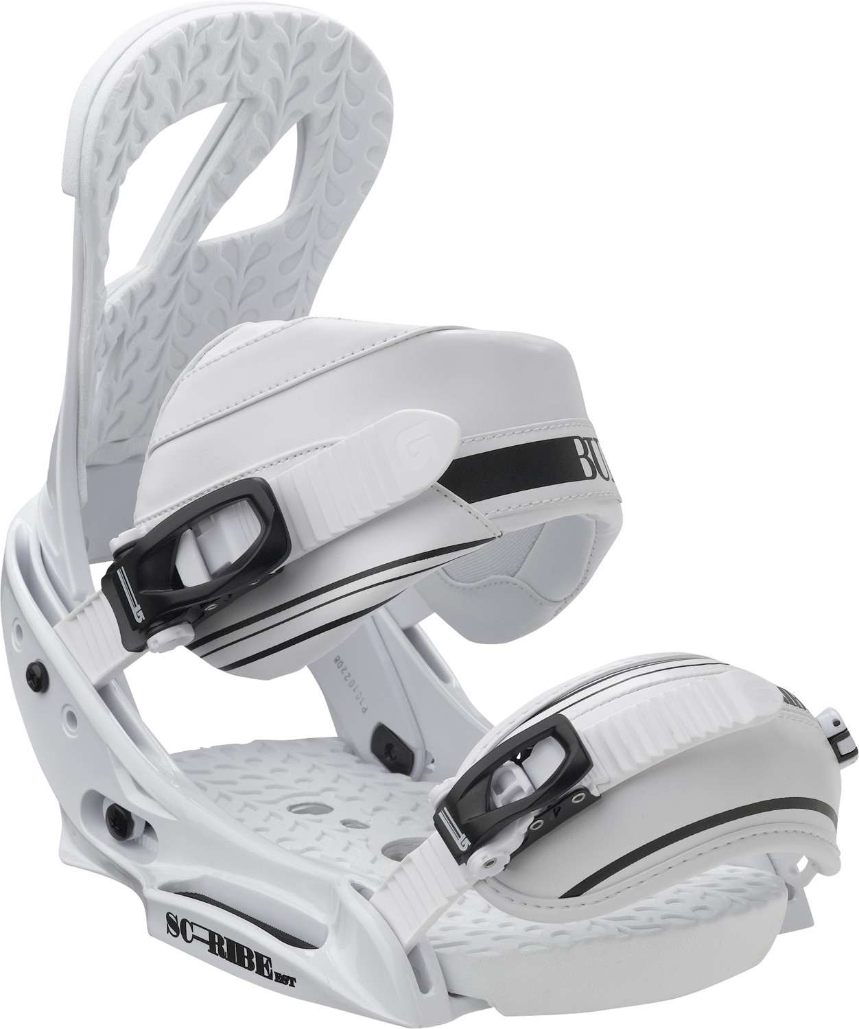 Snowboard Freestyle focus, feline feel.Key Features of the Burton Scribe EST Snowboard Bindings: Women's-Specific True Fit Design BASEPLATE: NEW 30% Short-Glass/Nylon Composite EST HI-BACK: Single-Component Canted Living Hinge Hi-Back STRAPS: Park- Asym Superstrap and Primo Capstrap BUCKLES: Smooth Glide Buckles CUSHIONING: NEW Removable Sensory BED Cushioning System Rides Exclusively with Burton Boards Featuring The Channel Features Re-Ground Materials in Baseplate and Hi-Back to Reduce Waste - $135.95