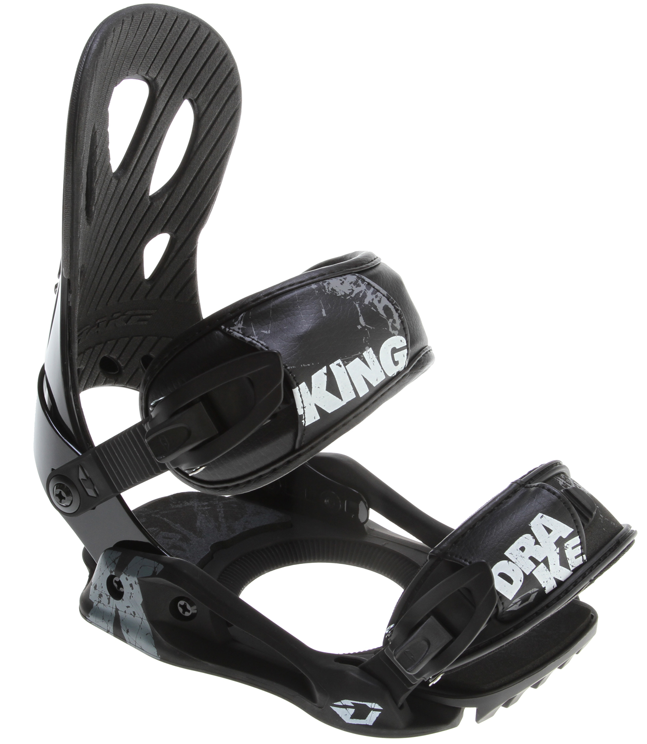 Snowboard All you need is the KING, a solid entry level men's binding that assures great performance and high quality. The KING is perfect for starving riders, who want to reach higher levels of riding thanks to its lightness and flexibility, despite their low budget. The Contour highback is a perfect fit to our boots while the MFC ankle and convertible toe strap assure a better grip and foot hold adding to an already comfortable and permissive binding. The KING blends the best binding basics with a good set of technological features, such as the MAC 4 buckles or comfortable DELTA baseplate, at half the cost of other bindings, so don't wait (again). buy it! DO IT!!Key Features of the Drake King Snowboard Bindings: Delta baseplate Impulse toe ramp interface Eva heelpad dampering Contour Highback MFC Ankle strap MFC Convertible toe straps MAC 4 buckles Classic Disc - $77.95