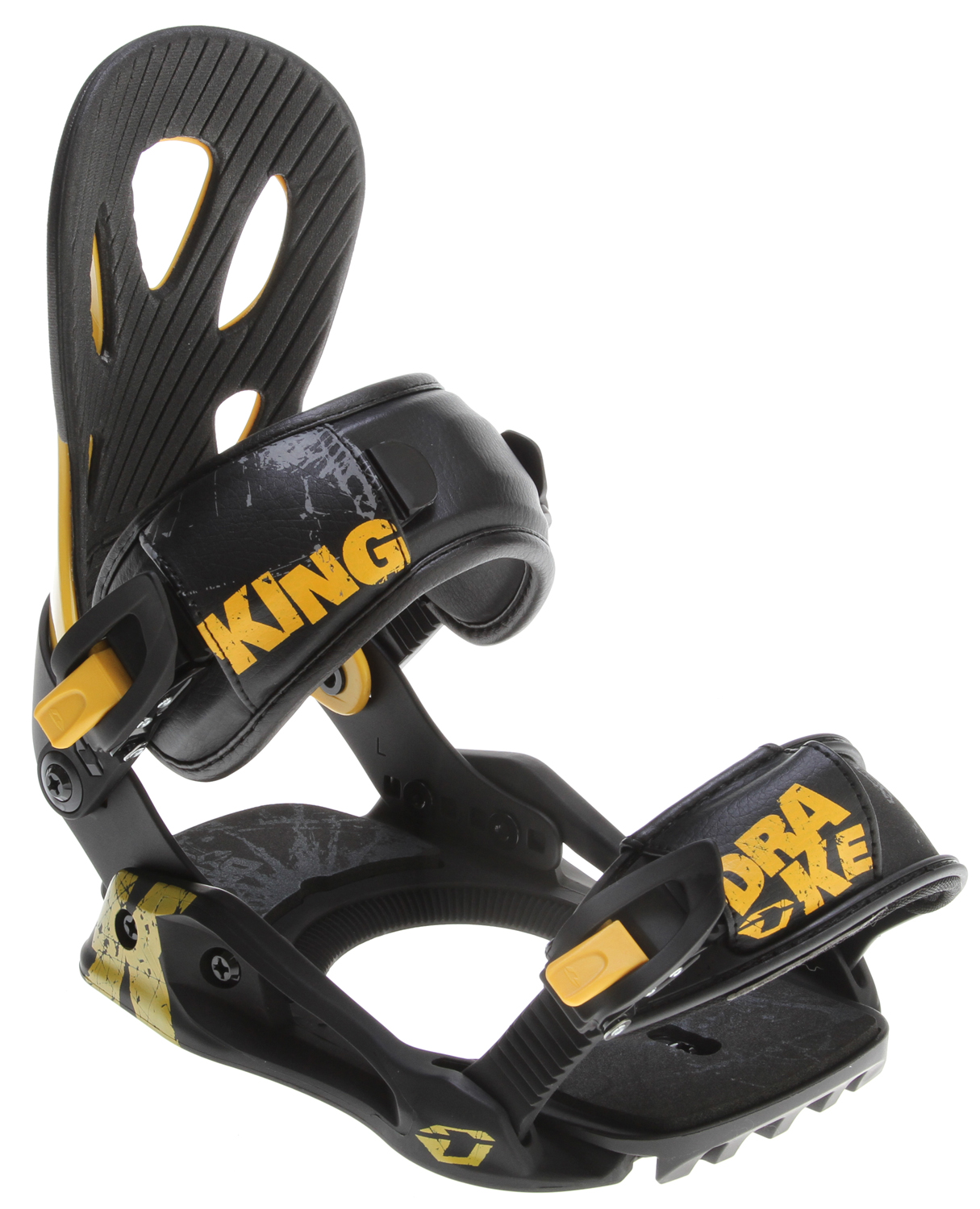 Snowboard All you need is the KING, a solid entry level men's binding that assures great performance and high quality.  The KING is perfect for starving riders, who want to reach higher levels of riding thanks to its lightness and flexibility, despite their low budget. The Contour highback is a perfect fit to our boots while the MFC ankle and convertible toe strap assure a better grip and foot hold adding to an already comfortable and permissive binding. The KING blends the best binding basics with a good set of technological features, such as the MAC 4 buckles or comfortable DELTA baseplate, at half the cost of other bindings, so don't wait (again . buy it! DO IT!!Key Features of the Drake King Snowboard Bindings:  Delta baseplate  Impulse toe ramp interface  Eva heelpad dampering  Contour Highback  MFC Ankle strap  MFC Convertible toe straps  MAC 4 buckles  Classic Disc - $77.95