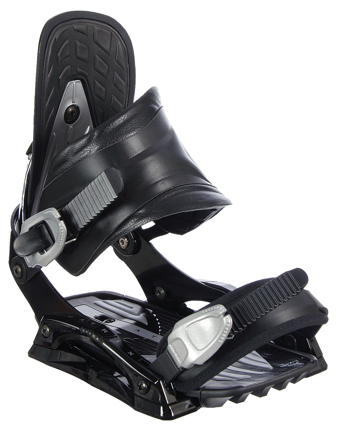 Snowboard The Matrix bindings are Drake's way of helping you afford a super high-tech and high-performance binding. Axis baseplate lets you adjust your bindings to your most comfortable, centered position. Traction control bridges provide increased response by adding another support from toe to heel. Real-quick adjust 4-ward lean for on-the-spot adjustments. Axis accelerators and disk cover for quick, reliable response. Four layer straps with dual-injected plastic frame and injected pad with softer center section and stiffer outers for increased comfort and instant response. 4x4 and 3-d compatible.Features for the Drake Matrix: Axis baseplate Axis Accelerators and Disc cover Axis Ltd Highback Really Quick adjust forward lean MFC Strap, asymmetric stiff for great response Axis Aluminum ratchets - $68.95