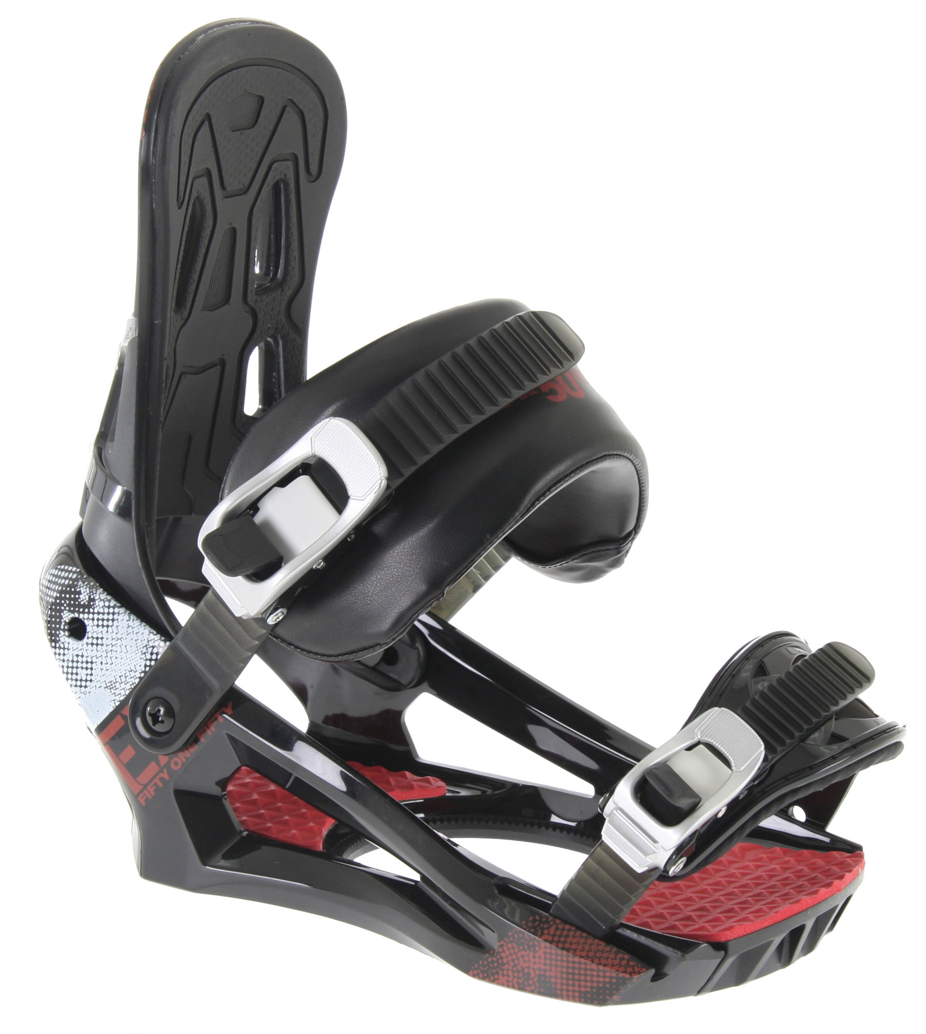 Snowboard With just the right amount of flex, multiple adjustments and lightweight ruggedness, the men's 5150 Exo Snowboard Bindings will keep you stoked and comfortable all day long.Key Features of the 5150 Exo Snowboard Bindings:  NEW! Reaction chassis with adjustable toe ramps for ultimate response  NEW! Padded, fabric enclosed PlushFlex ankle straps for comfort with power  Aluminum Lift-Release Ratchets for smooth, quick adjustment  XBand Toe Straps for multi-position flexibility  Padded Anatomical Highback for maximum comfort and control  Flip-Lock, Tool-Less, Forward Lean Adjustment  360degrees Disc Mount for virtually limitless stance options - $61.95