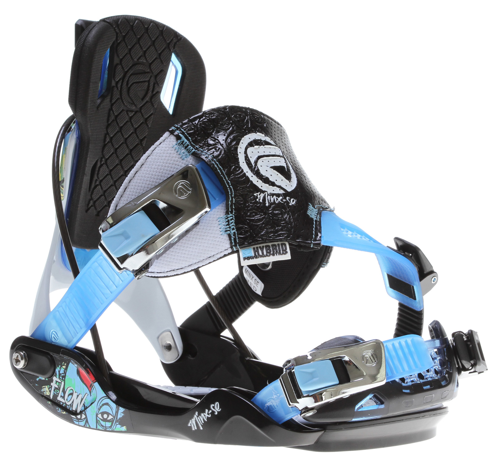 Snowboard The MINX-SE is a piece of art. Designed to get noticed on the slopes, the Mix-SE boasts our new HYBRID PowerCapStrap for unrestricted freedom yet powerful riding. The LSR-buckles allow SideEntry to complement our proven SpeedEntry technology and the Mod Back has a responsive aluminum alloy heelcup and a flexible TWEAK.6 topzone so that you stay in control wherever you venture.Key Features of the Flow Minx SE Snowboard Bindings: The H-series molded baseplate is engineered with a wider platform for stability and ease of entry and exit ModBack with Aluminum alloy heelcup and Urethane TWEAK.6 SupportPanel for a softer flex in the top-zone with a comfy KushControl wrapped EVA pad HYBRID PowerCapStrap with LSR-buckles for your choice of easy and functional SpeedEntry or conventional SideEntry Tool-less FWD-lean adjustment Combi mounting-disk for 4x4 and 3HP Overall moderately stiff flex (3) for a snappy all-mountain response but enough flex for that freestyle feel - $160.95