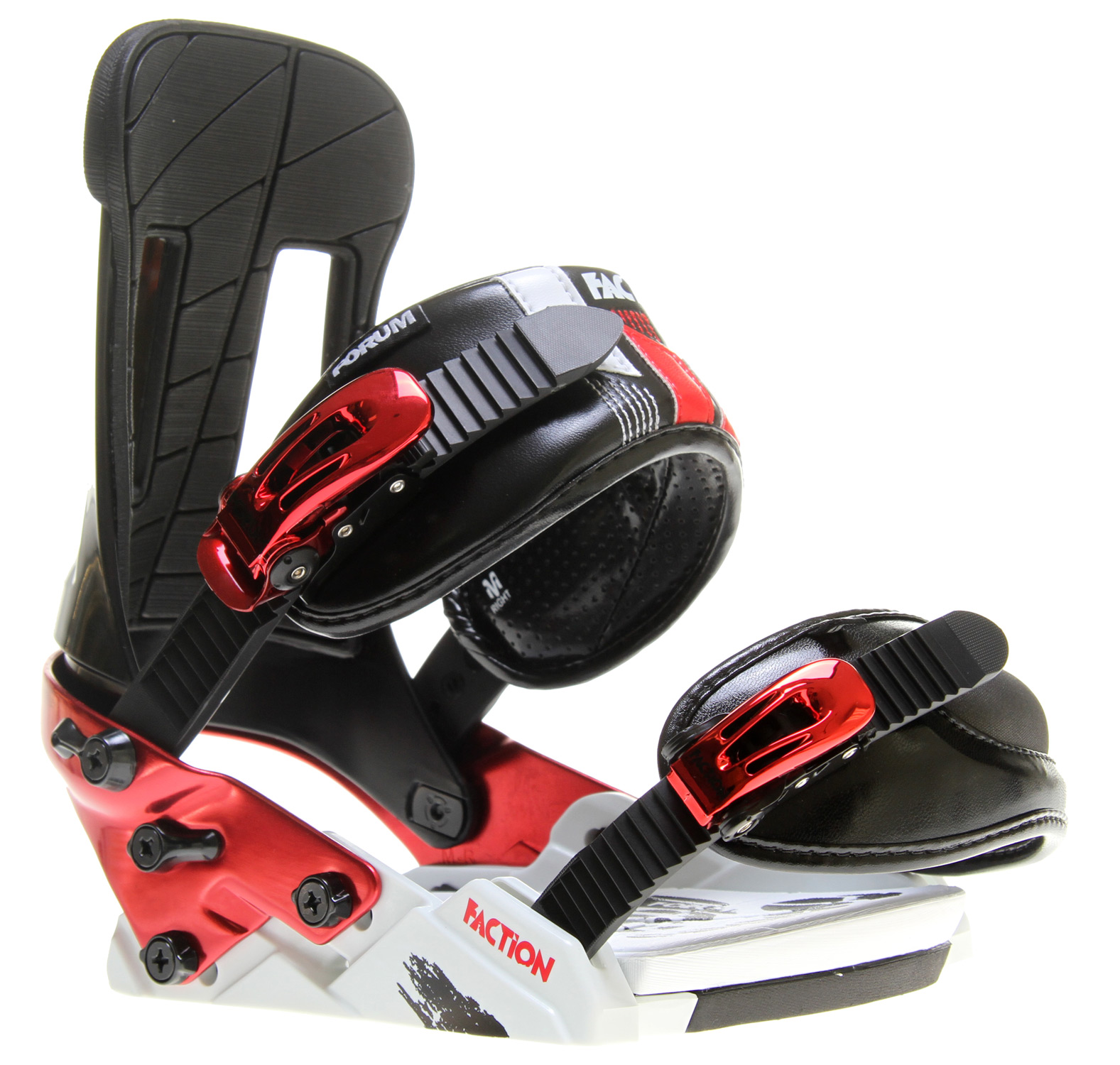 Snowboard Satis-Faction Bindings are arguably the most important part of your setup, so why settle for less? The Forum Faction has everything you need to improve your park riding. Most importantly, our Good Vibes Hinge Disk and Split baseplate, allow your board to flex naturally underfoot giving you more freestyle feel. To boot, the Faction is offered at a price that won't break the bank. This is true satisfaction. This is the Faction. Key Features of the Forum Faction Snowboard Bindings: Disk: Good Vibes Hinge Disk Comfort: Good Vibes EVA footpad Ankle Strap: Bubbler Toe Strap: Throwdown cap Baseplate Material: 30% glass-filled nylon with aircraft-grade aluminum heelhoop Feel 4 - $111.95