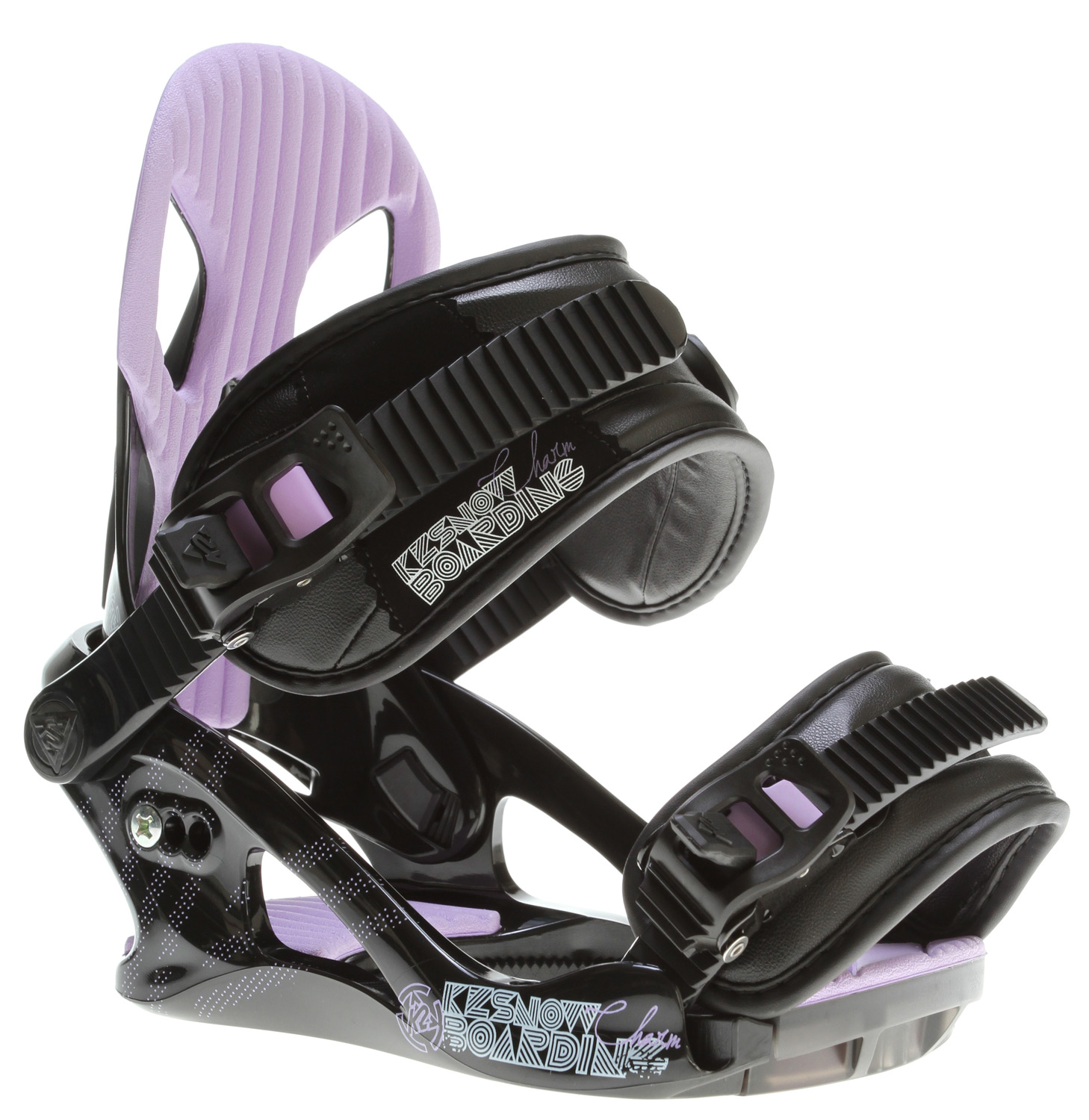 Snowboard K2's good luck binding. The K2 Charm Snowboard Binding is the best binding for the buck a lady can get. With the A-Line chassis and a comfy Caddi Ankle strap, the Charm is all the luck a girl needs.* CHASSIS: A-Line PC * HIGHBACK: Flair Frame * ANKLE STRAP: Women's Caddi * STRAP FEATURES: Cam-Lock Centering * TOE STRAP: Tool-Less universal * RATCHET: Speed * DISC: Multi-Compatible * FOOTBED: Formed EVA Shockpads, Tool-Less Adjust Power Ramp - $71.95