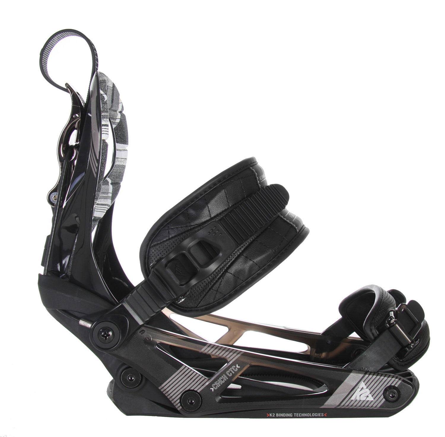 Snowboard Strap binding performance made easy, the 2010-11 K2 Cinch CTC snowboard binding delivers convenience and comfort at a price that won't break the bank. Tool-Less adjustments of both the Caddy Ankle Strap and the Cored Universal Toe Strap provides everything you need to get that perfect boot to binding fit. A NEW Airframe Highback completes this great easy-to-use binding.Key Features of the K2 Cinch CTC Snowboard Bindings: Chassis: C1 Chassis Footbed Features: EVA Shockpads Tool-Less Adjust Power Ramp Air Frame Highback Caddy Ankle Strap Cam-lock Centering New! Cinch Toe Strap Aluminum EZ Feed Speed Ratchets Multi-Compatible Discs - $109.95