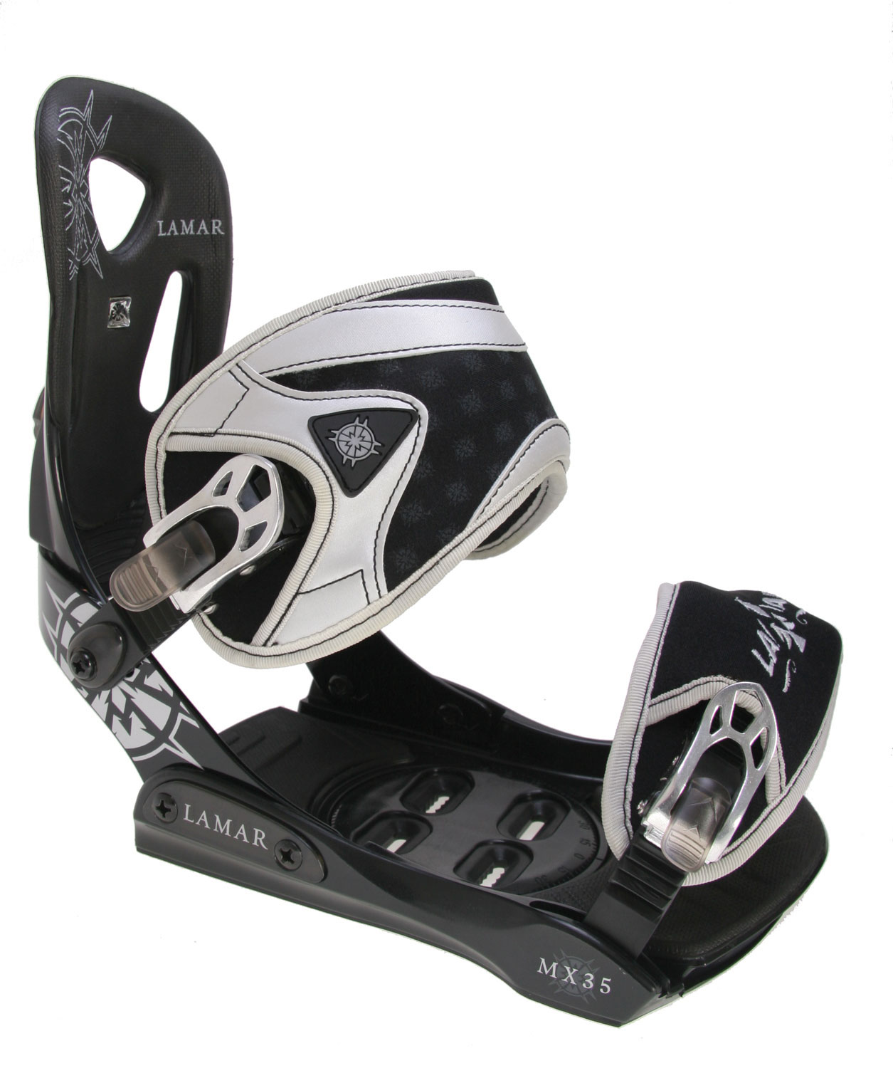 Snowboard The Lamar MX35's represent a great mid-range option in bindings. They will perform great on All Mountains and boast a fine Aluminum adjustable Heelcup. The construction of these bindings is simple but elegant. The baseplate is anatomically designed for added comfort, and the toe ramps are easily adjustable to dial in your fit. The Toe and Heel Ramp pads are molded EVA. These bindings are great way to add some style and comfort to your next ride.Key Features of the Lamar MX35 Silver Snowboard Bindings: All-Mountain Performance Aluminum Adjustable Heelcup Plastic Anatomical Baseplate Adjustable Toe Ramps Molded EVA Toe and Heel Ramp Pads - $52.76