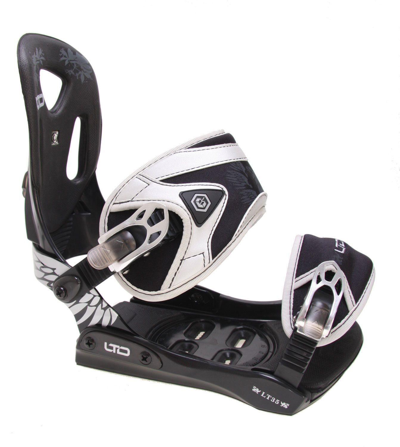 Snowboard Get versatile all mountain performance with LTD's LT35 snowboard bindings. The aluminum heelcup is adjustable, so you get a clamp down fit. The plastic baseplate is lightweight and ensures a responsive ride. The toe ramps are adjustable for a snug fit, and EVA molding on the heel and toe ramps provides comfortable padding and comfort. The aluminum 3 tooth ratchets can take a beating, and the ladders adjust tool free so you get a perfect fit on the fly. LTD has your back with their LT350 snowboard bindings.Key Features of The LTD LT35 Snowboard Bindings: All Mountain Performance Auminum Adjustable Heelcup Plastic Anatomical Baseplate Adjustable Toe Ramps Molded EVA Toe and Heel Ramp Pads Aluminum Anatomical 3 Tooth Ratchets NEW!! Tool Free Quick Adjustable Toe and Ladder Straps - $65.95