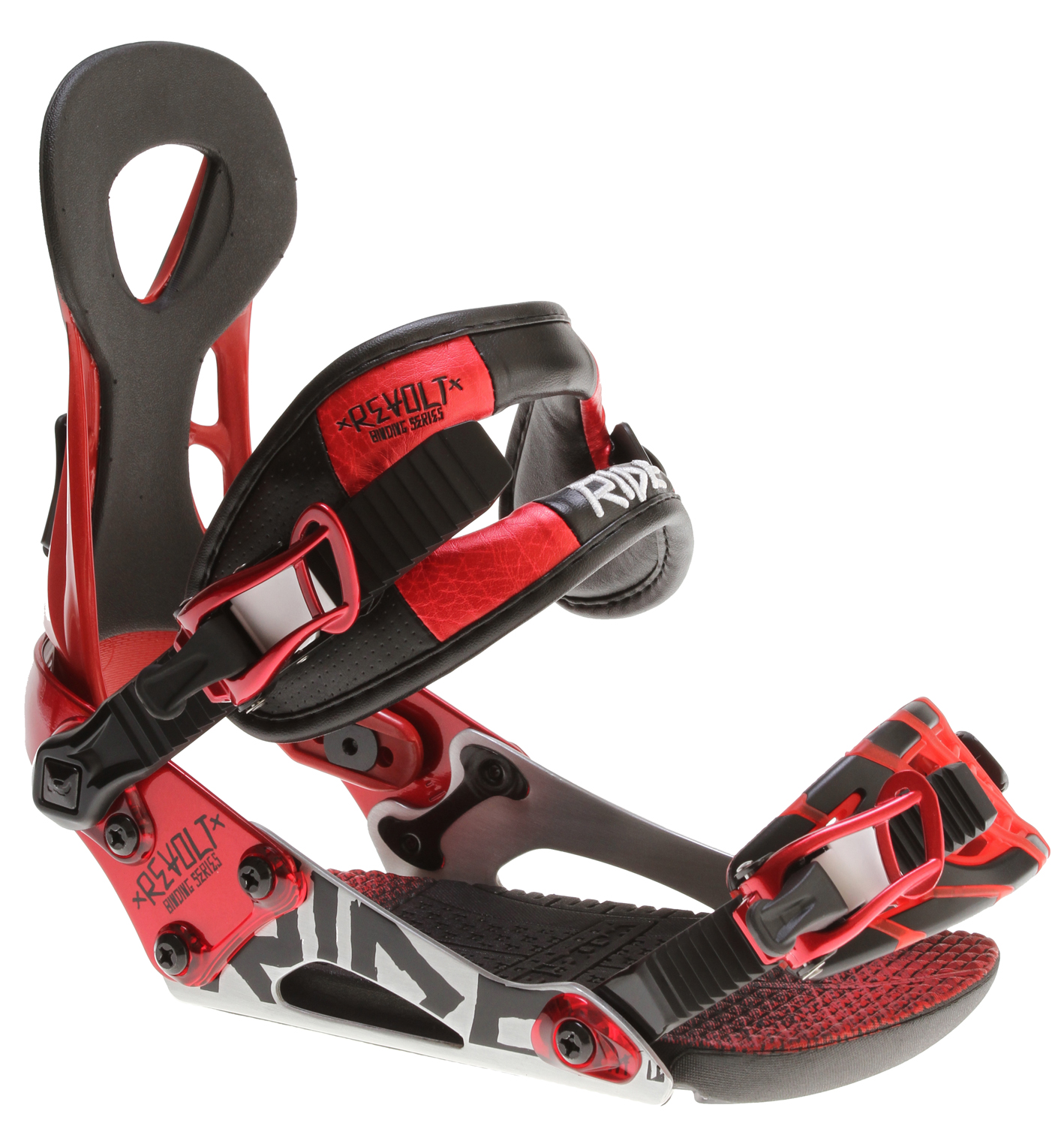 Snowboard An All-Around Freestyle Upheaval Breaking the mold for freestyle versatility, the Ride Revolt Snowboard Binding features Wedgie 2.5 for an added boost of ollie pop and ThinGrip toe strap for snug boot grip and response. Throw in the Balance Core ankle strap and FreeFlex highback for a binder that is packed with performance enhancing features and ideal for getting the most out of your day.Key Features of the Ride Revolt Snowboard Bindings: Foundation Chassis System w/ Adjustable Heelcup FreeFlex Highback Balance Core Ankle Strap ThinGrip Toe Strap Wedgie 2.5 Footbed EVA Basepad UltraLite Ratchets Forged Aluminum Response Disc - $129.95