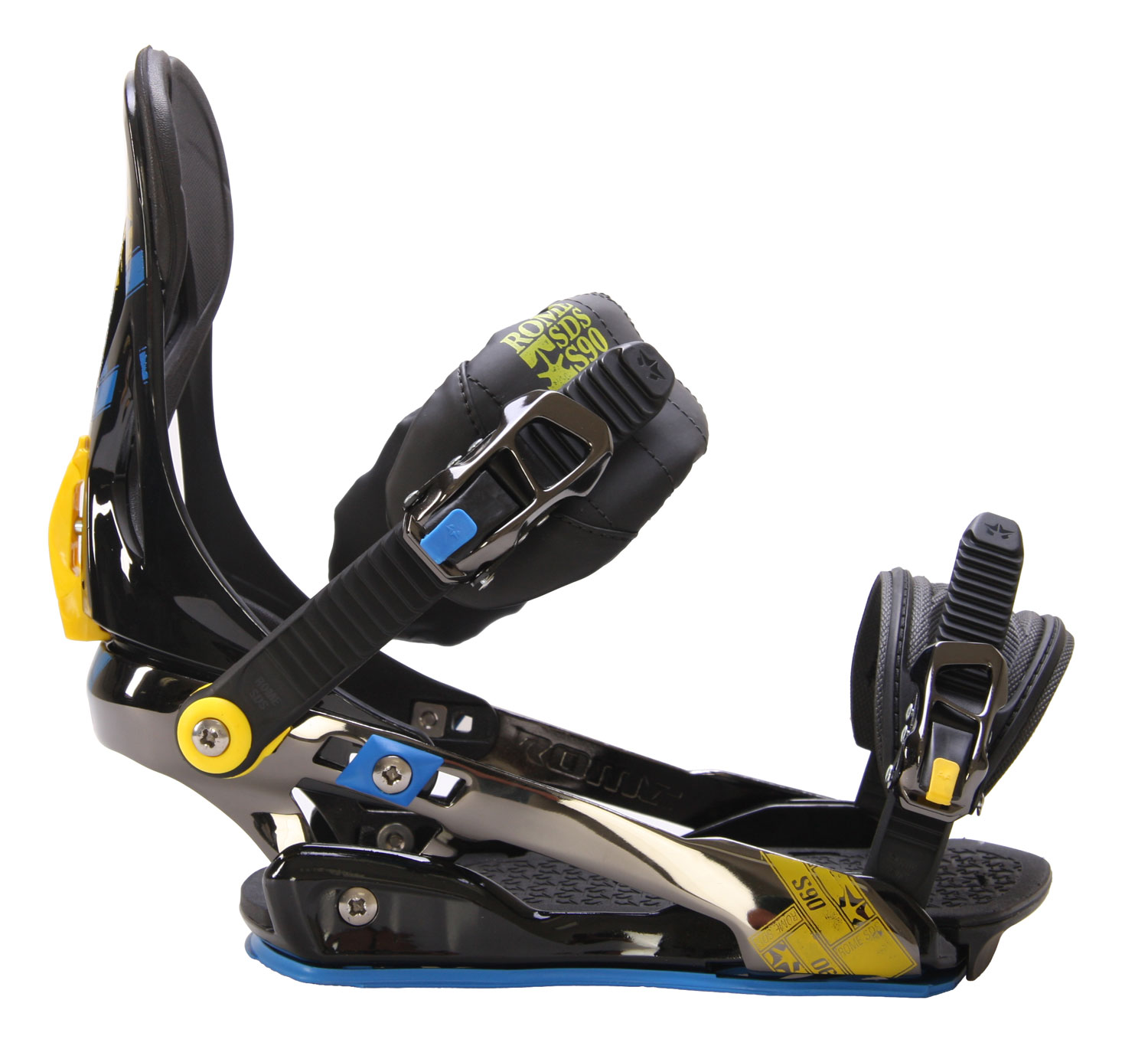 Snowboard The wait is finally over for the Rome S90 Snowboard Bindings! Rome and TruSnow set up this collaboration with you, the rider in mind. This super cush binding offers one of the most advanced strap systems available that while giving the rider the ultimate in comfort for a smooth damp ride, still keeps its response high for the aggressive and technical riders. The S90 snowboard binding really is the perfect binding. This all mountain freestyle binding is perfect for a blend of riding styles and conditions. Wether you are a park rider looking for forgiveness, or a black diamond bomber looking for control, the Rome S90 will be the last binding you will ever need.Key Features of the Rome S90 Snowboard Bindings:  New Highback: Ample coring for lightness and flexibility  Traditional Hybrid Baseplate  Contour Ankle Strap: The 3D shape and cold-resistant gel ensure a bio-correct fit with your ankle. Low-profile for greater freedom.  ConFormist.1 Toe Strap: Super conforming EVA for the best-fitting, lowest profile toe strap in snowboarding,  UnderWrap Heel Hoop: A ton of leverage over both edges with side-to-side freedom; the most powerful of the UnderWrap designs  SubBase Pad: Takes the edge off hard landings and reduces vibration  Adjustable Toe and Heel Ramp: Customized fit to the length and shape of your boot  QuickStrap.2 Technology: Tool-free strap length adjustment. Screw screws.  QuickLock Forward Lean: Tool-free forward lean adjustment  9Times Ankle Strap Positioning: You decide how much ankle support you want  Highback Rotation: 0degrees to 12degrees of rotation places power where you like it - $95.95