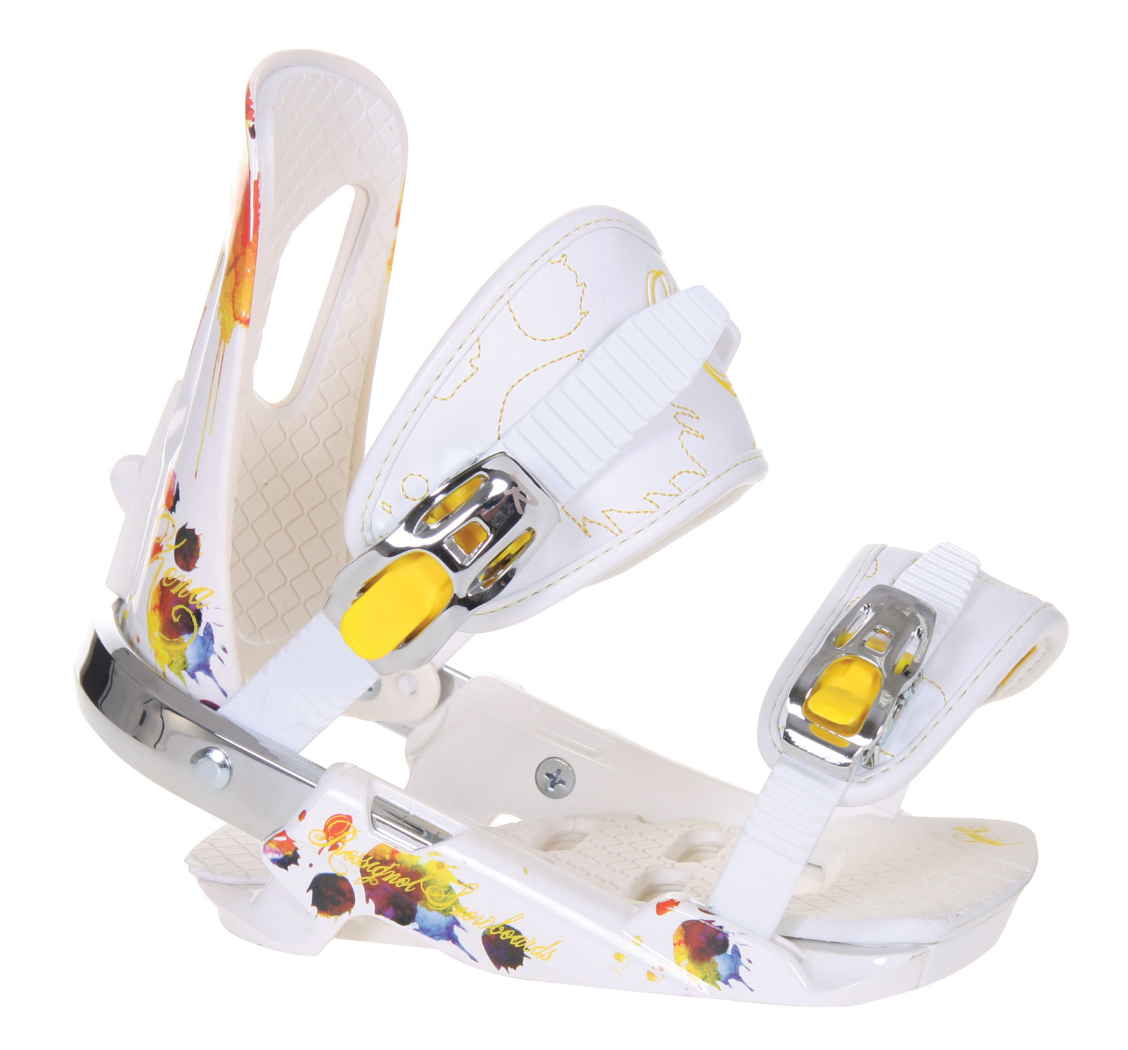 Snowboard The new Rossignol Women's Zena Snowboard Bindings are designed to limit shock factor without sacrificing the agility of these bindings. Any product and material out there designed to help response time has been employed in these bindings. Its a point and click effort with these bindings, your limits are endless. Designed in both white pink, and white yellow these bindings will match anyone style, without sacrificing any performance. So if you looking for some agile, performance bindings you've found your choice.Key Features of The Rossignol Zena Women's Snowboard Bindings: HC-S Baseplate: DUPONT Zytel polyamide with fiberglass and stainless steel stingers / Adjustable 6082 T6 aluminum heel cup with boot size indicator Puffy Pads Gas Pedal: Adjustable footbed / Progressive toe ramp / Thermoformed EVA padding B-Back Highback: DUPONT Zytel polyamide / Thermoformed EVA padding / Tool-free forward lean adjuster / Rotation adjuster 3D HS Straps: Anatomic 3D shape / DUPONT Hytrel polyamide reinforcement with thermoformed complex EVA padding / Synthetic leather layers / New tool-free length adjuster / Anti-rotation ankle and toe straps SLC2 Light Buckles with Fit In System: Aircraft aluminum / Exclusive monolever design / Easy engaging / Fast gearing / Smooth releasing system - $95.95