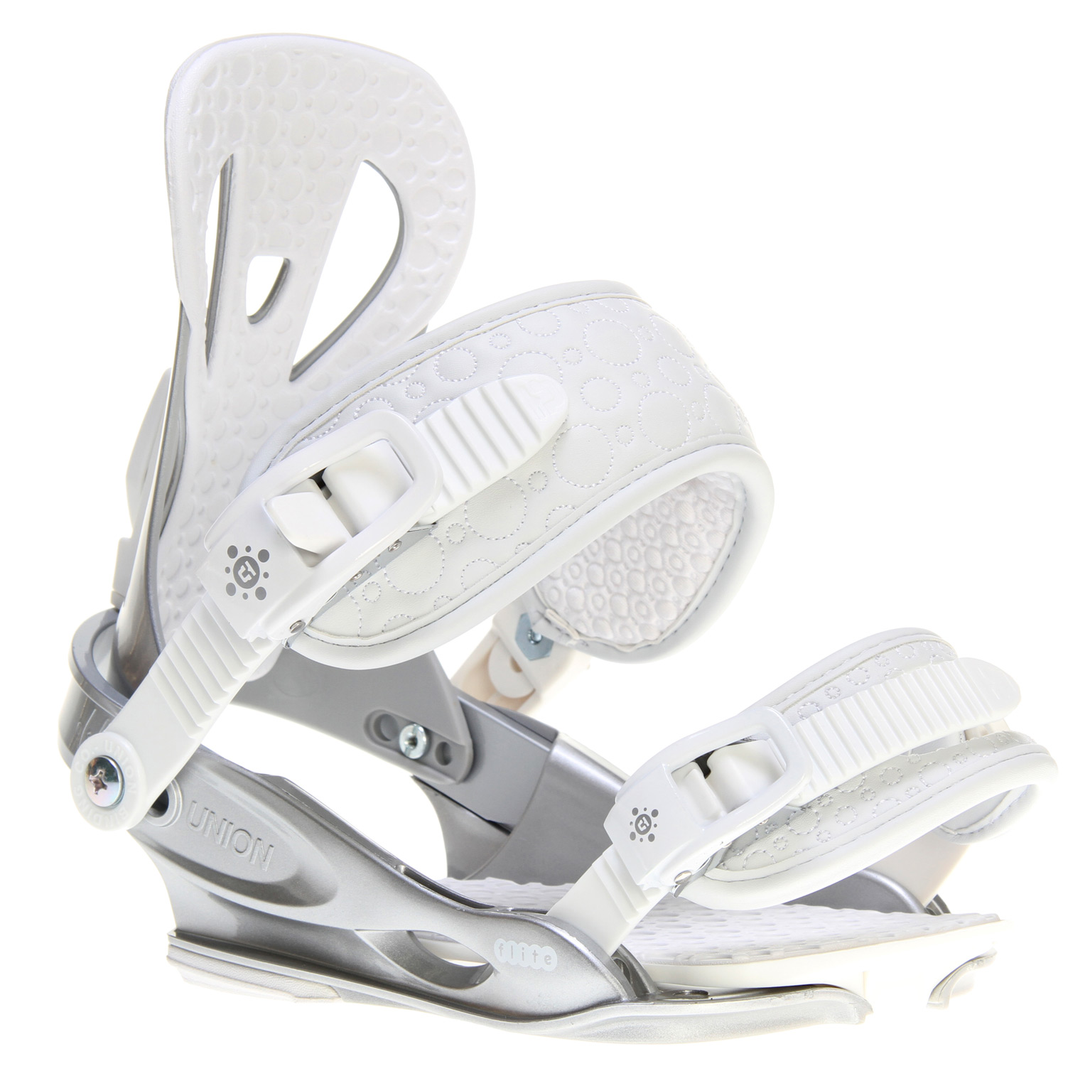 Snowboard Like, so lightKey Features of the Union Flite Lady Snowboard Bindings: Women's Speci?c Flite Baseplate Injected Eva Bushings Extruded Aluminum Heelcups All New Direct-Connect Strap System Pu Leather Straps Tool-Free Size Adjustment Injected Aluminum Buckles Universal Disks Grade 8.8 Hardware Lifetime Warranty Base - $103.95