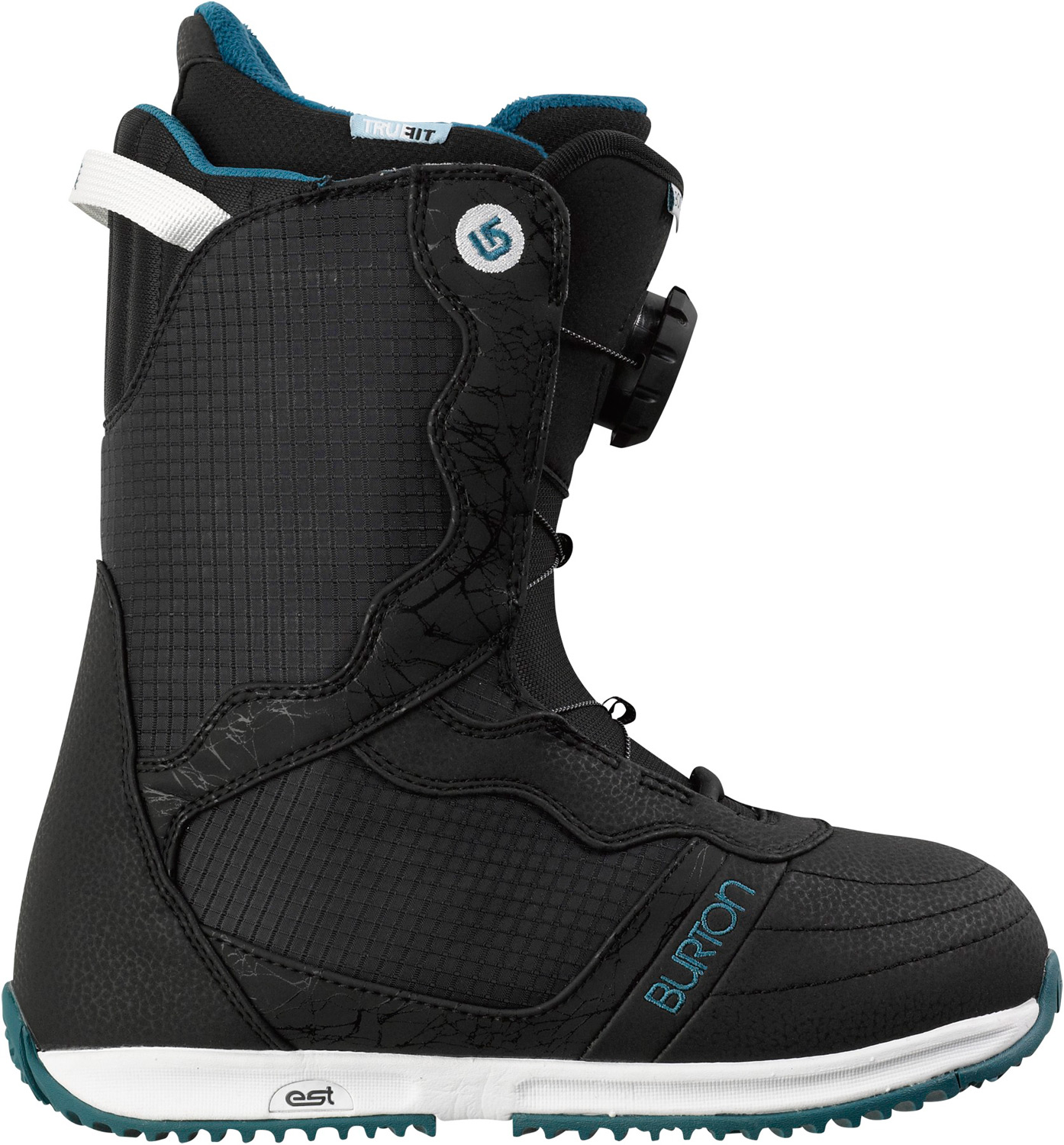 Snowboard Like puppies and candy for your feet.Key Features of the Burton Bootique Snowboard Boots: Support: 3 Women's-Specific True Fit™ Design Lacing: NEW Speed Dial Lacing System Liner: Imprint™ 1 Liner with Integrated Lacing and Hot Pockets Heated by Little Hotties® Disposable Toe Warmers [Includes One FREE Pair] Cushioning: Lightweight, Low-Profile EST™ Optimized Midsole with B3 Gel Flex and Response: Soft-Flexing Shell Materials and Soft Flex 3D® Molded Tongue Comfort: Total Comfort Construction, Snow-Proof Internal Gusset, and Level 1 Molded EVA Footbed - $149.95