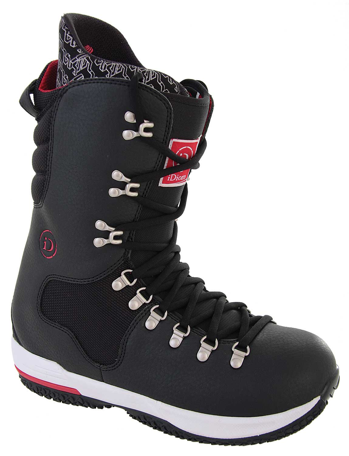Snowboard If you're ready to hit the snow on your next trip, then you need to go in the right type of shoes. If you're tired of taking old, uncomfortable, boots that don't keep your feet warm, then you need to grab yourself a pair of Burton Idiom Snowboard Boots in Black. So what the big deal about these boots you ask  This pair of boots is light weighted and has special cushioning, which will keep your feet comfortable so you won't tire out. Furthermore, they have a great appearance. So if you want to head to snow in style and in comfort, get yours today!Key Features of the Burton Idiom Snowboard Boots:  Upper Material: Full grain and nubuck leather  3D molded Eva tongue with gel bone out  5-part outsole with skydex heel and forefront cushioning  Lightweight Eva 4 liner with PU support panels and integrated power strap  Dual component motocross style hooks  Aegis anti-microbial coating on the liner and footbed  Inner cuff lacing harness with adjustable heel hold inserts   RAF tongue stiffener for adjustable boot flex - $98.95